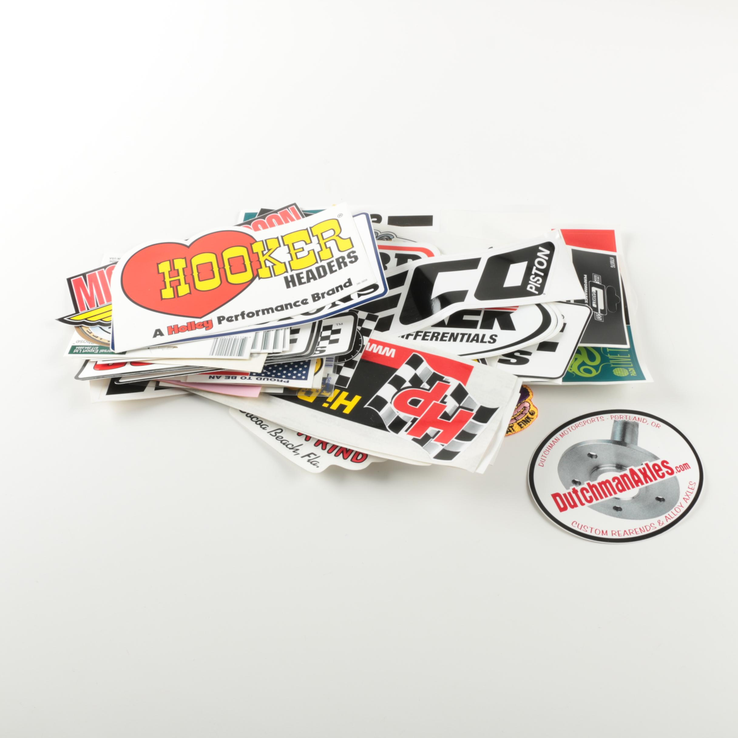 Assorted Stickers Including Sports, Auto Racing, American Patriotic and More.
