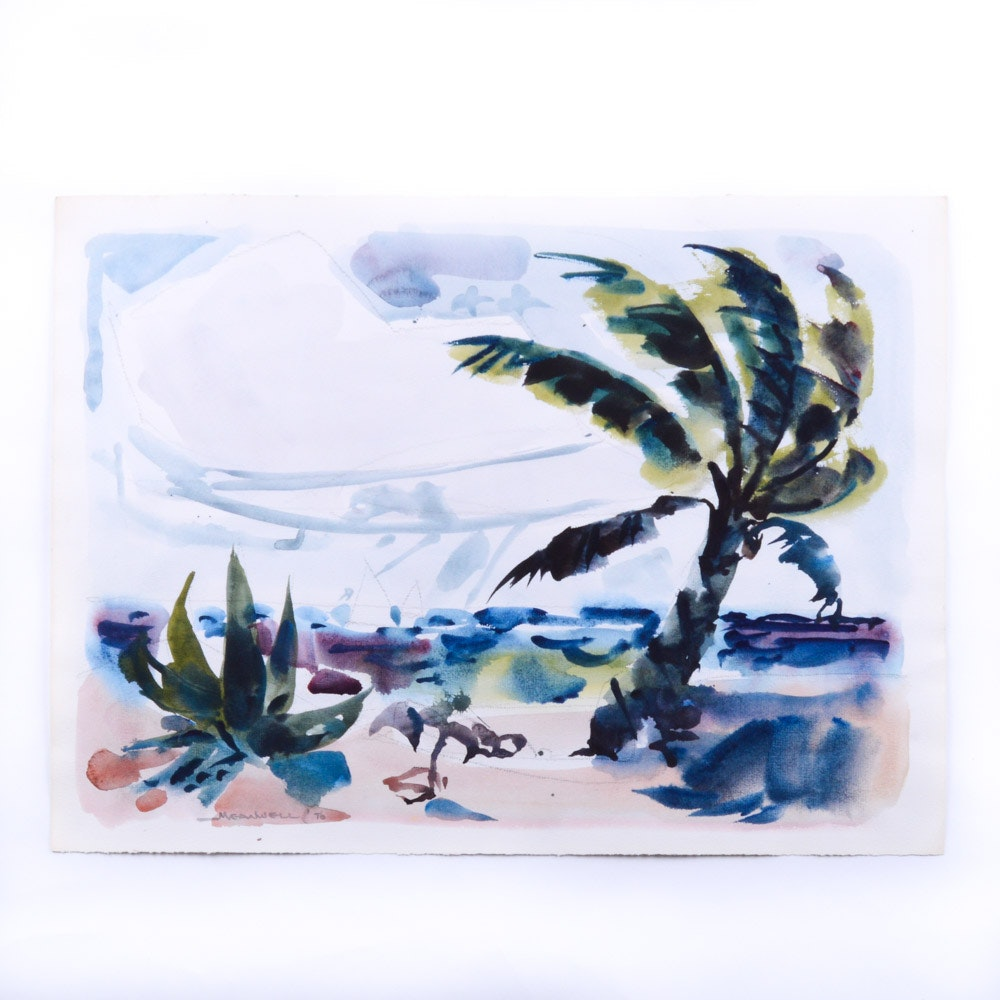 Jack Meanwell Watercolor Painting on Paper 1976 Palm and Sailboats on the Sea