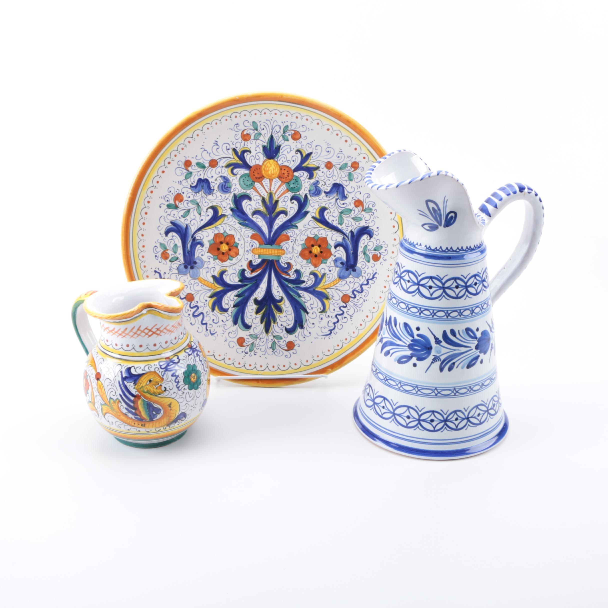Assortment of Hand Painted Spanish and Italian Majolica Pottery