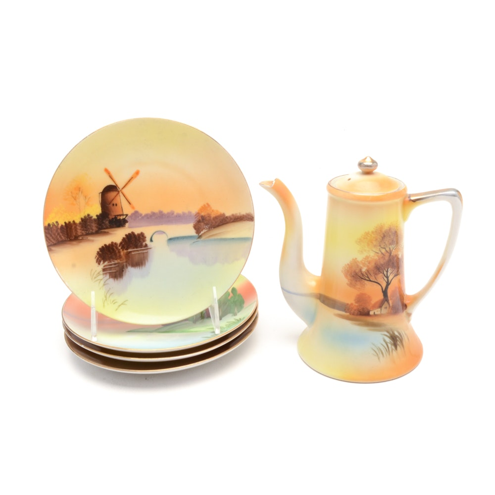 Handpainted Meito China Plate and Teapot Set