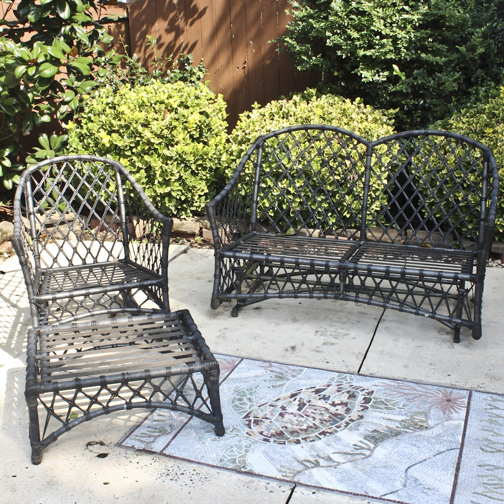 Three-Piece Metal Patio Set with Woven Accents