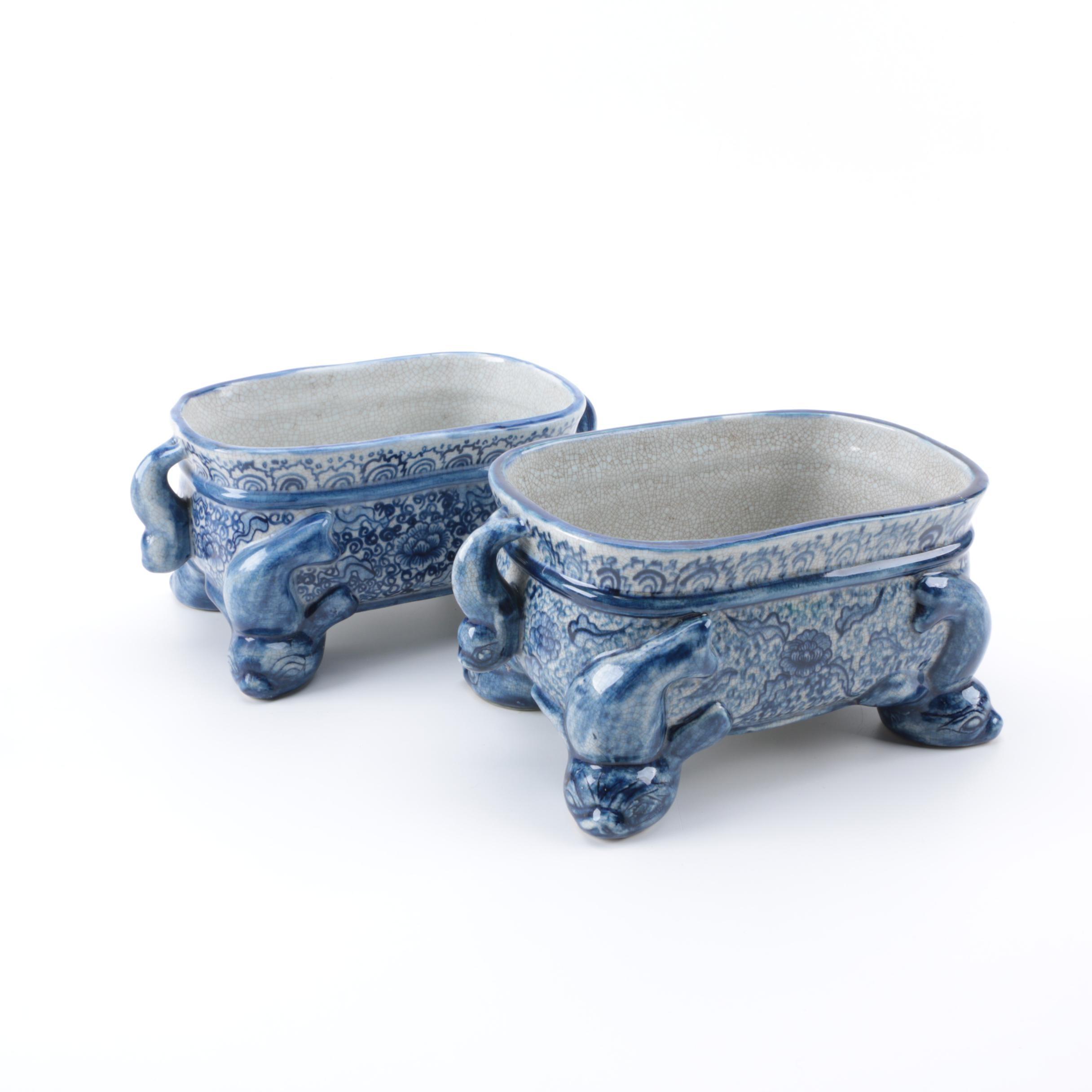Pair Vintage Blue and White Porcelain Planters