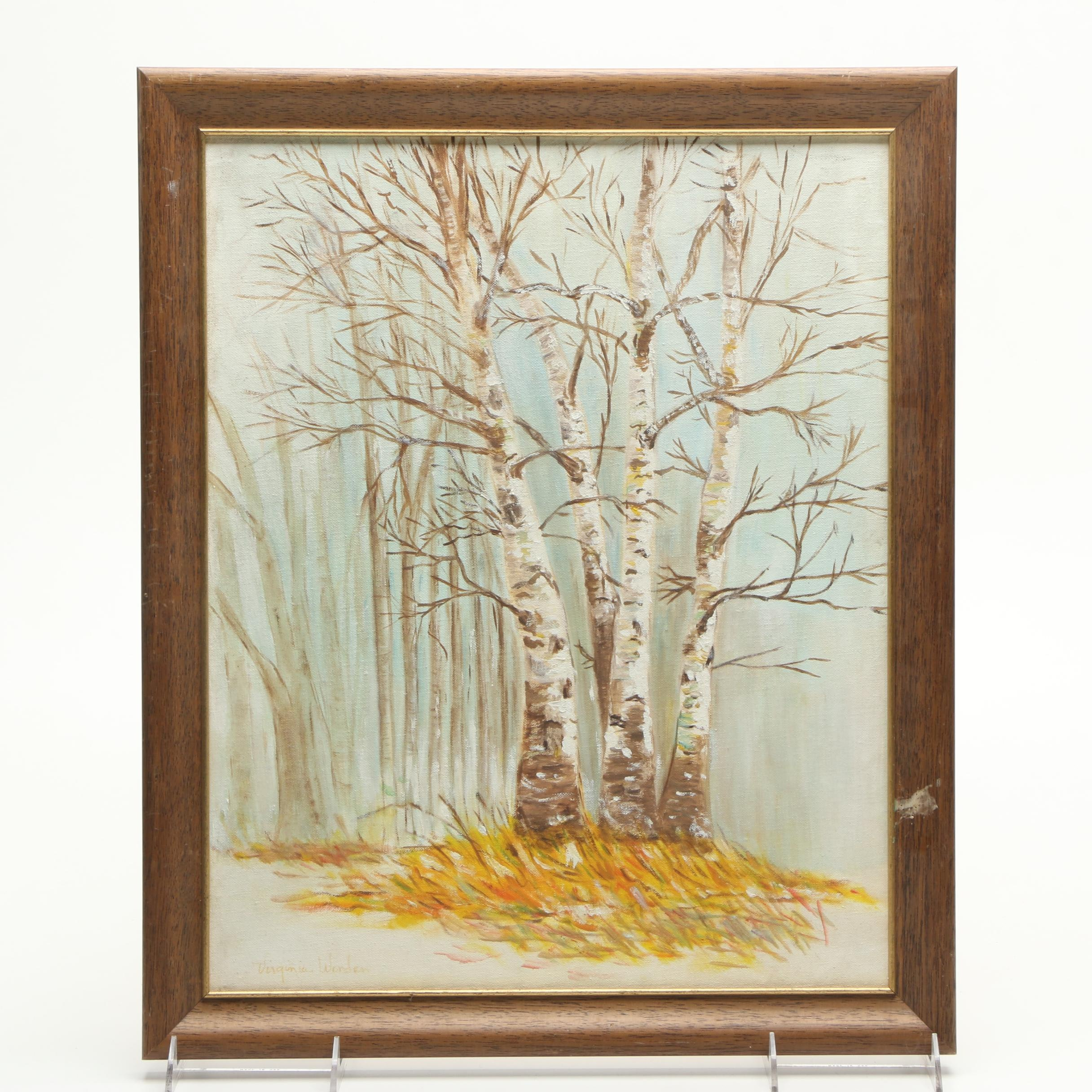 Virginia Worden Oil Painting on Canvas Board of Winter Trees