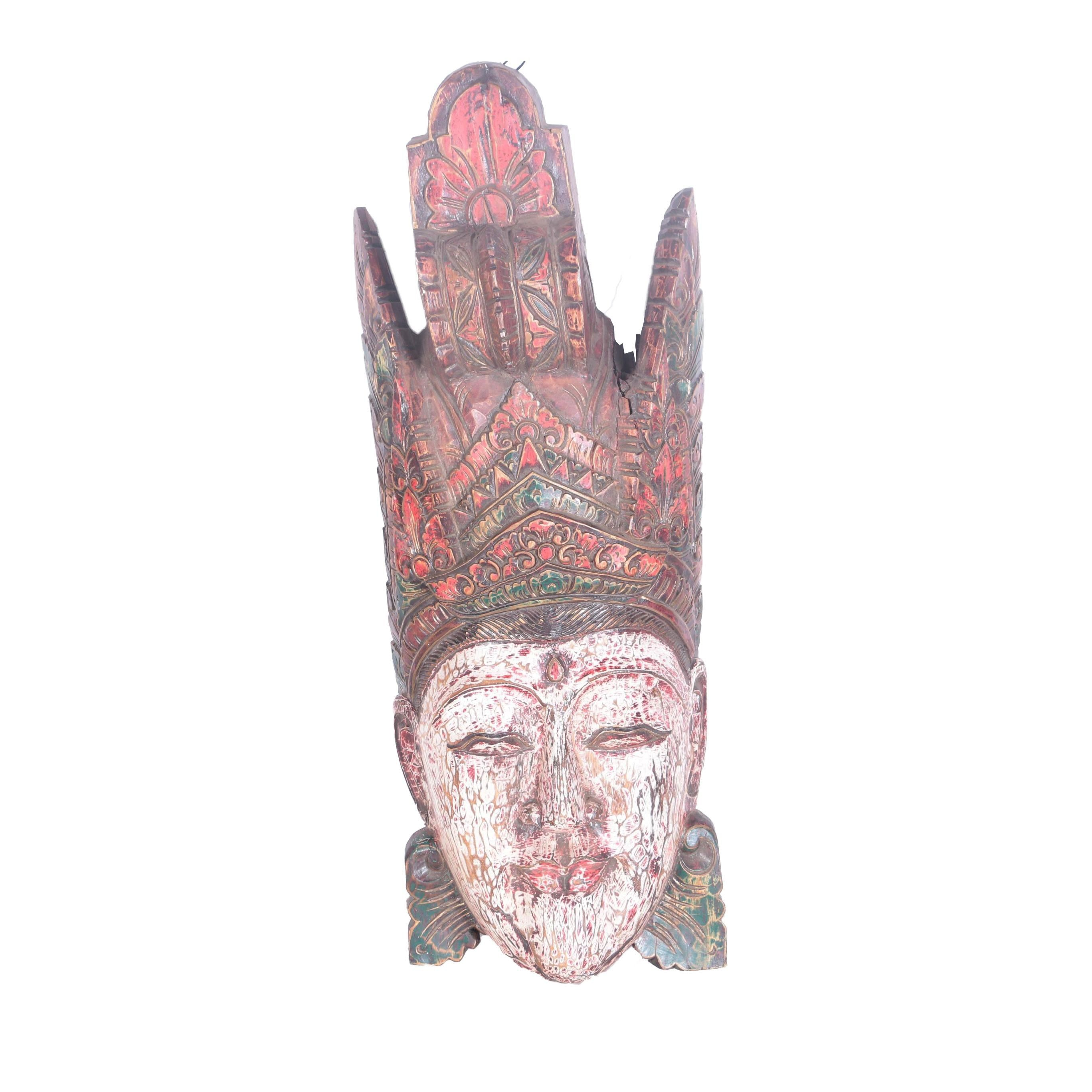 Southeast Asian Carved and Painted Figural Wall Hanging