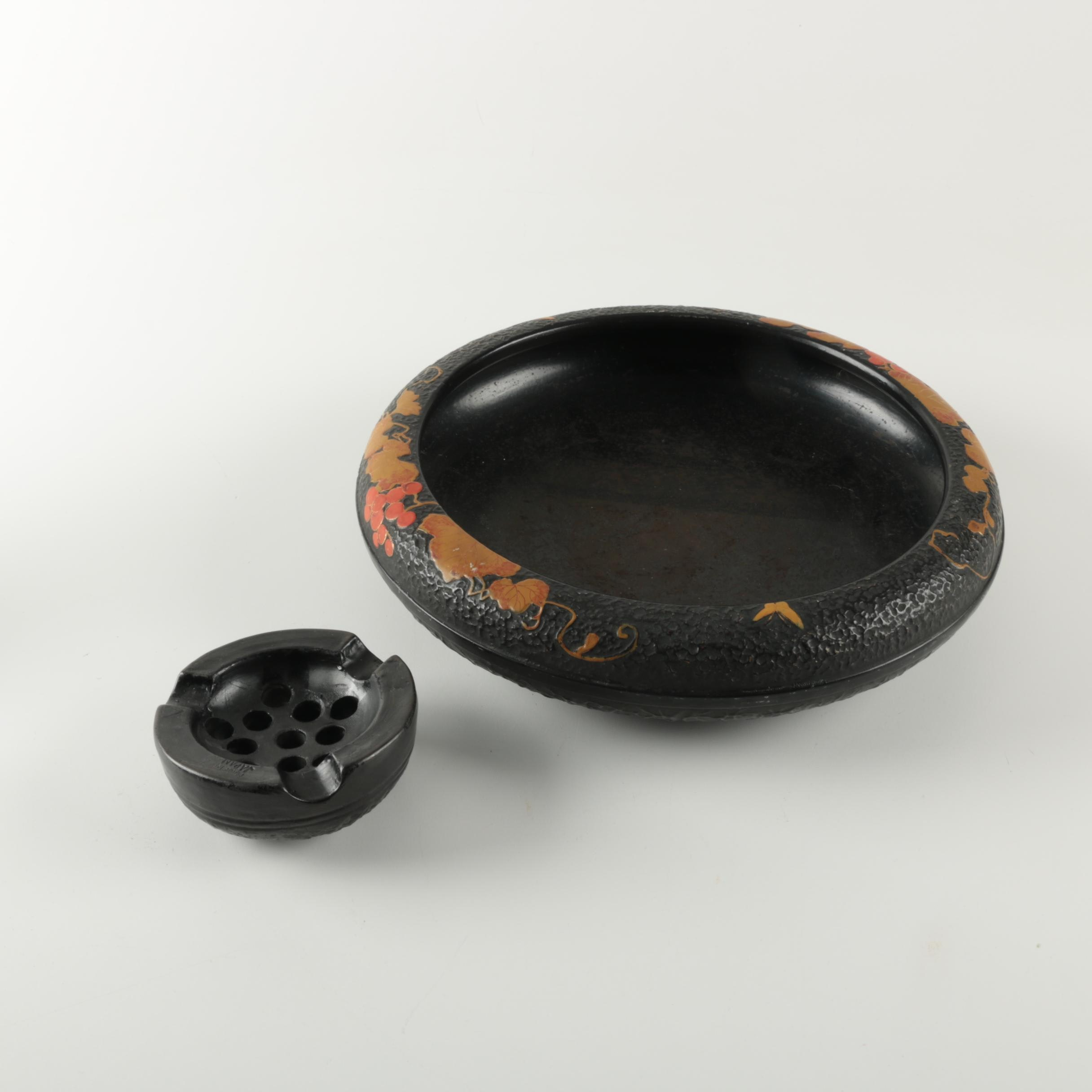 Vintage Japanese Flower Bowl with Frog