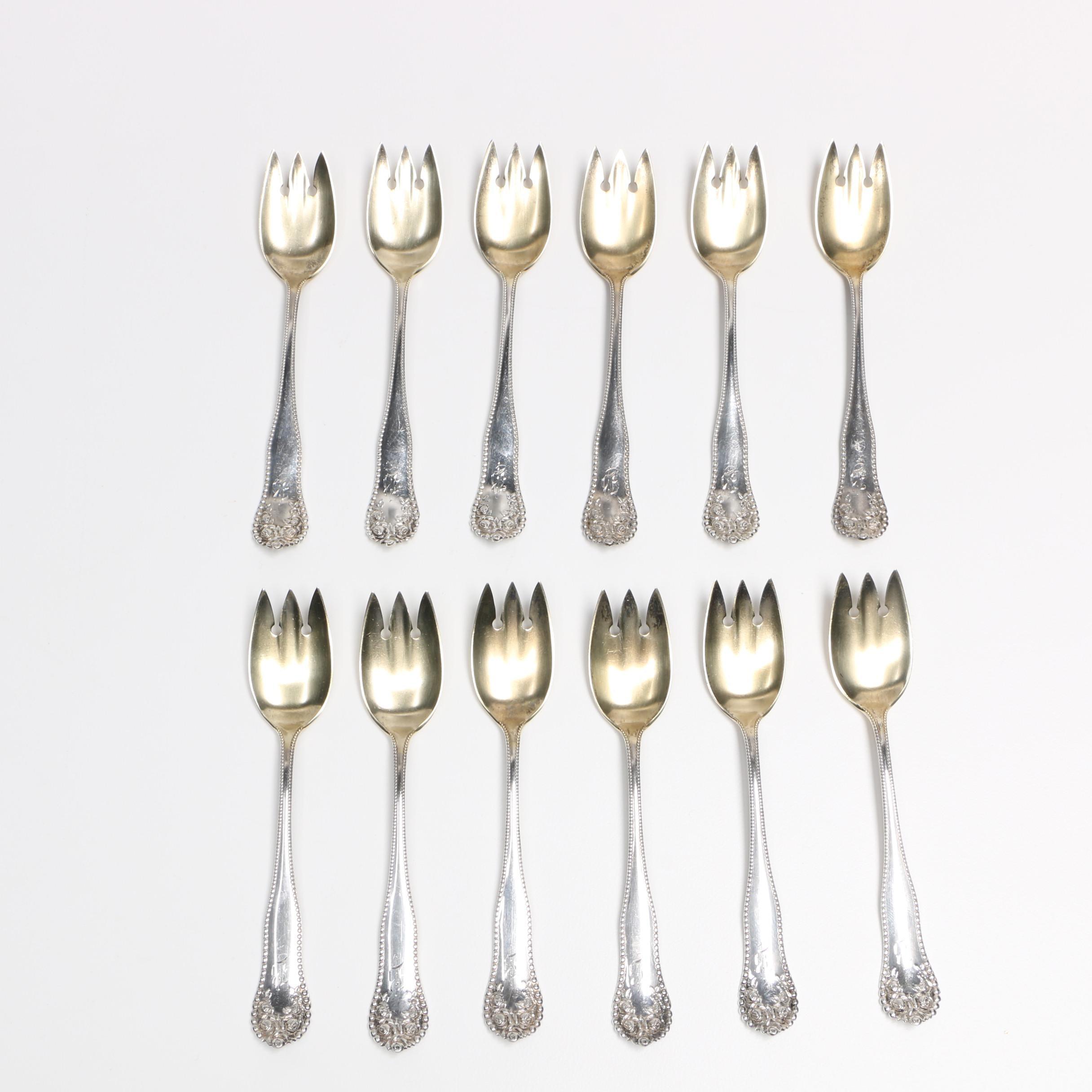 """Gorham """"Lancaster"""" Sterling Silver Ice Cream Forks"""