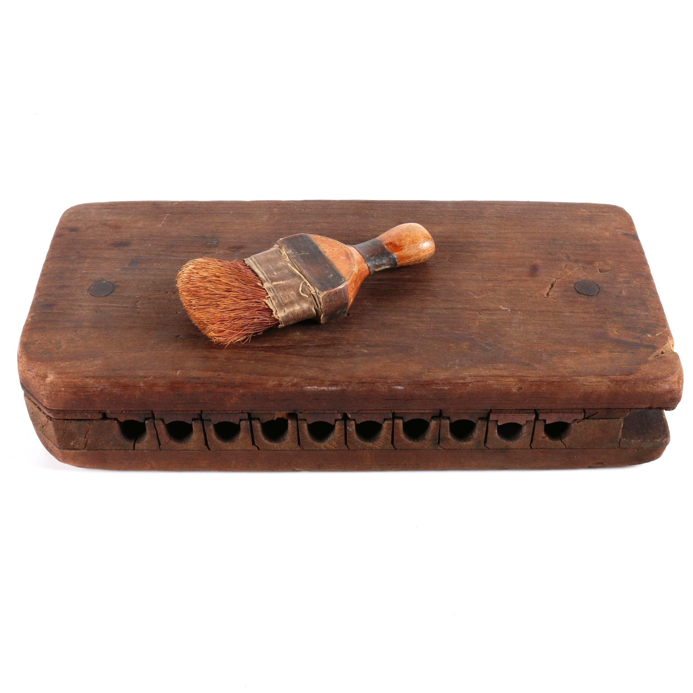 Vintage Wooden Cigar Moulding Rack with Brush