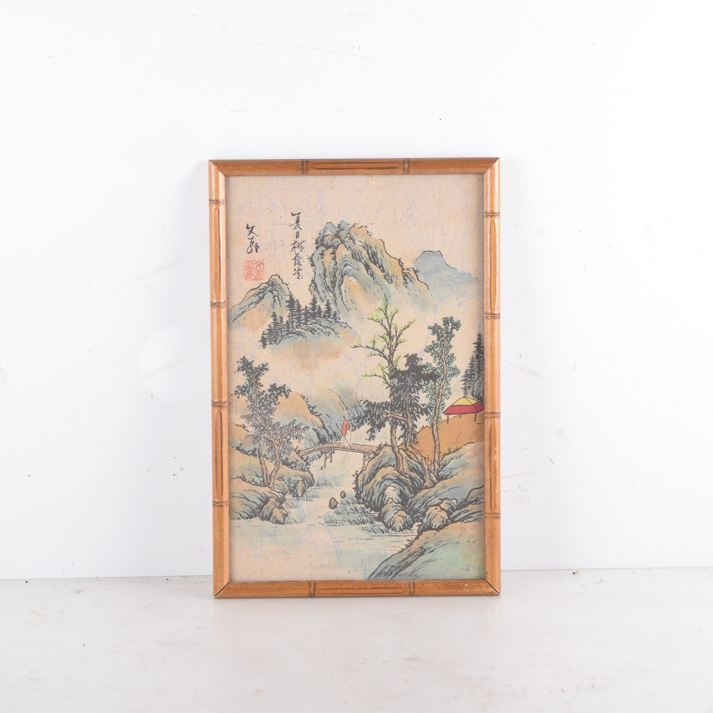 Framed Chinese Woodblock Print