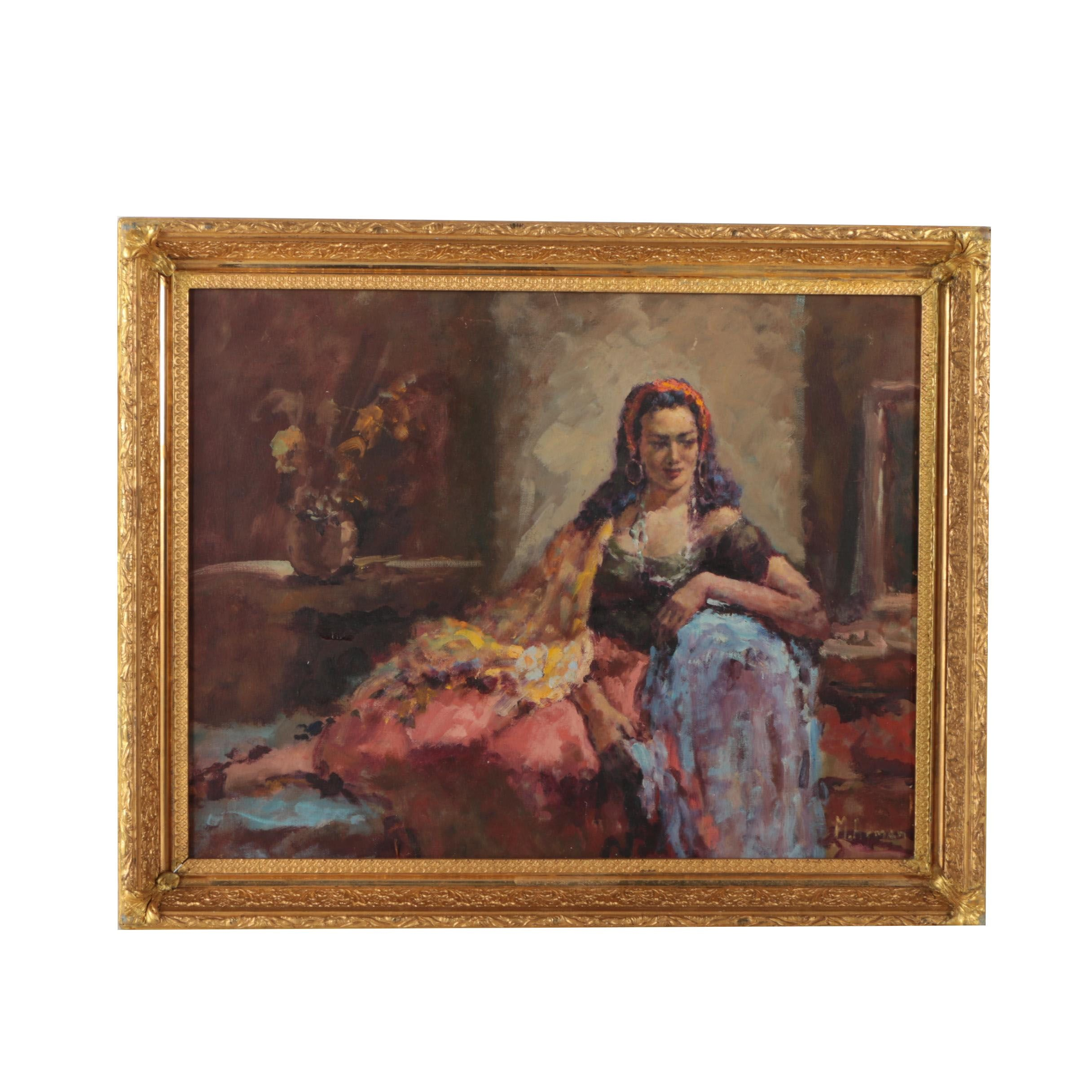 "M. Armen Original Oil Painting ""Gypsy Girl"""