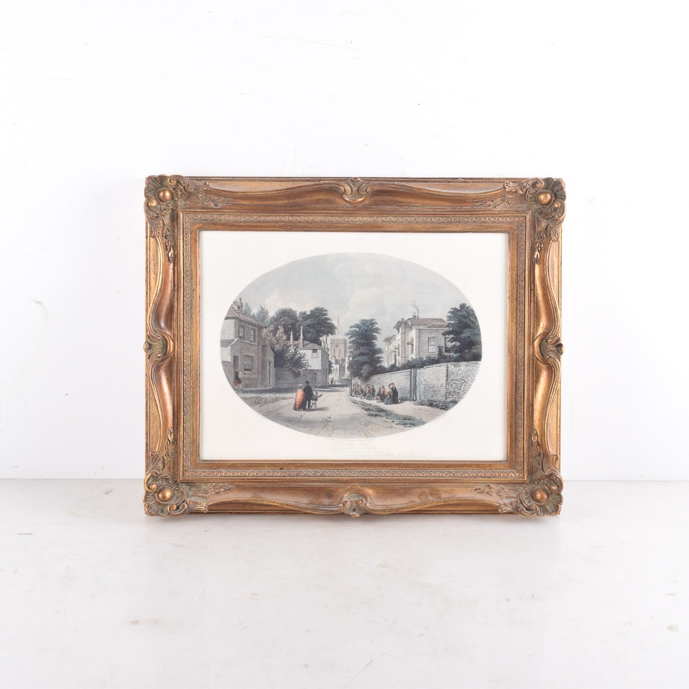 Louis Laurent Raze Framed Hand-Colored Etching