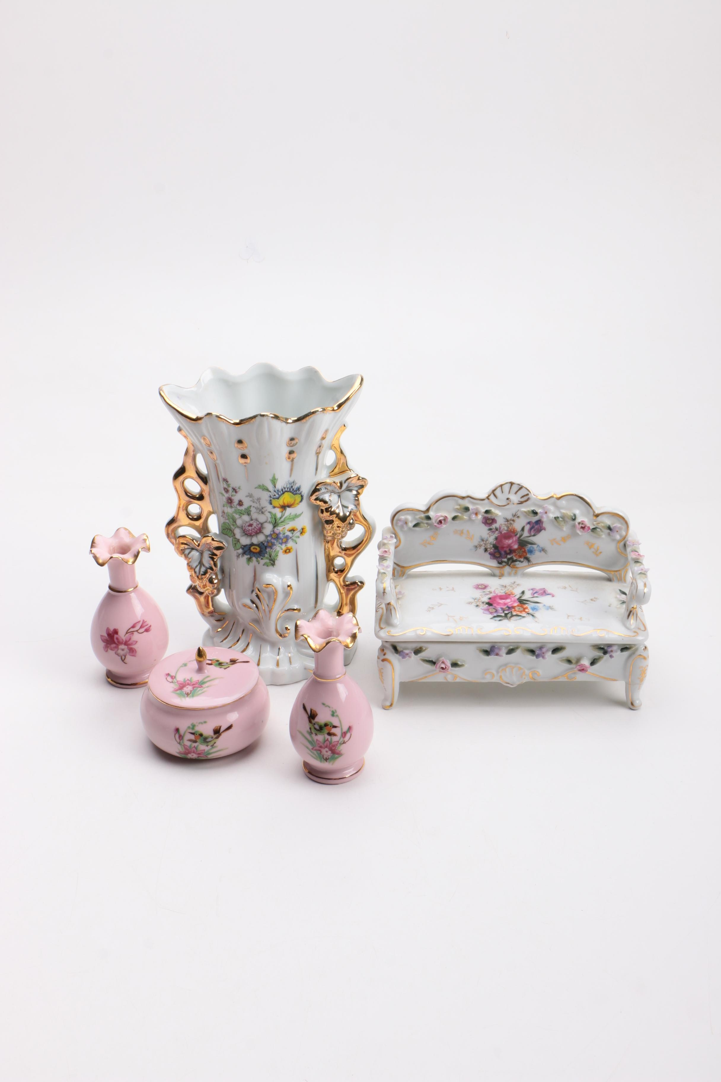 Porcelain Vase, Box and Vanity Set