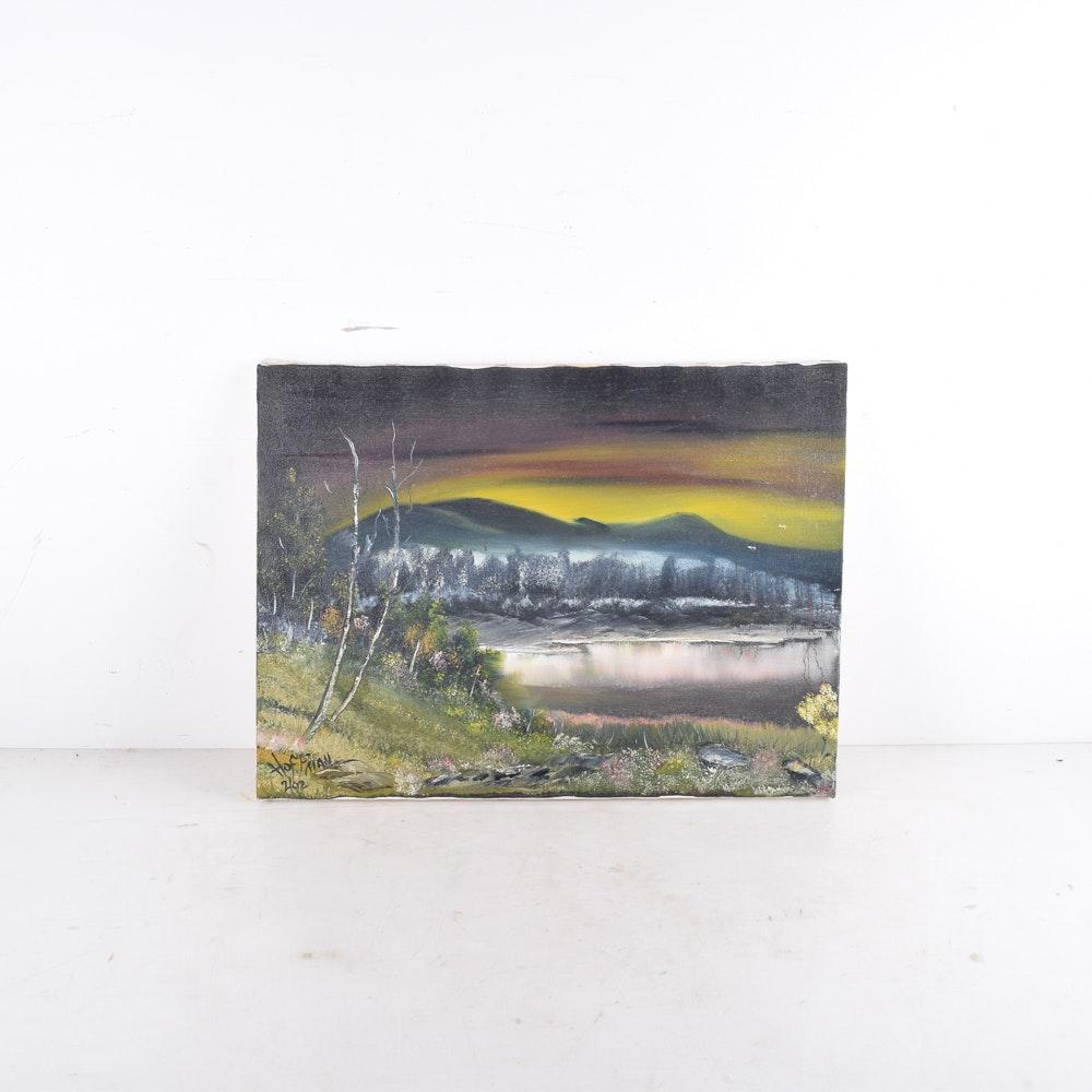 Hoffman Oil Painting of a Dusk Landscape