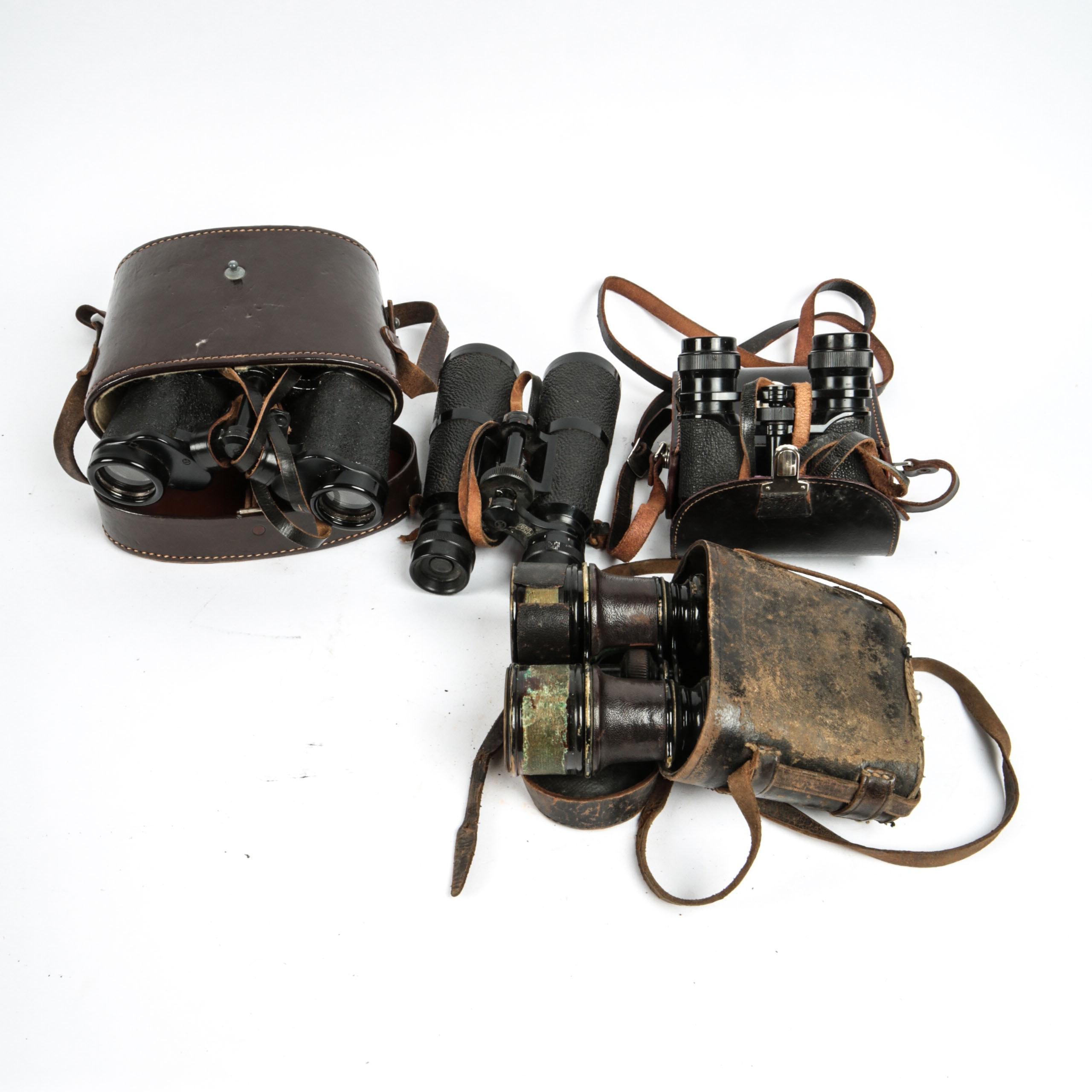 Vintage Binoculars Including WWII-Era