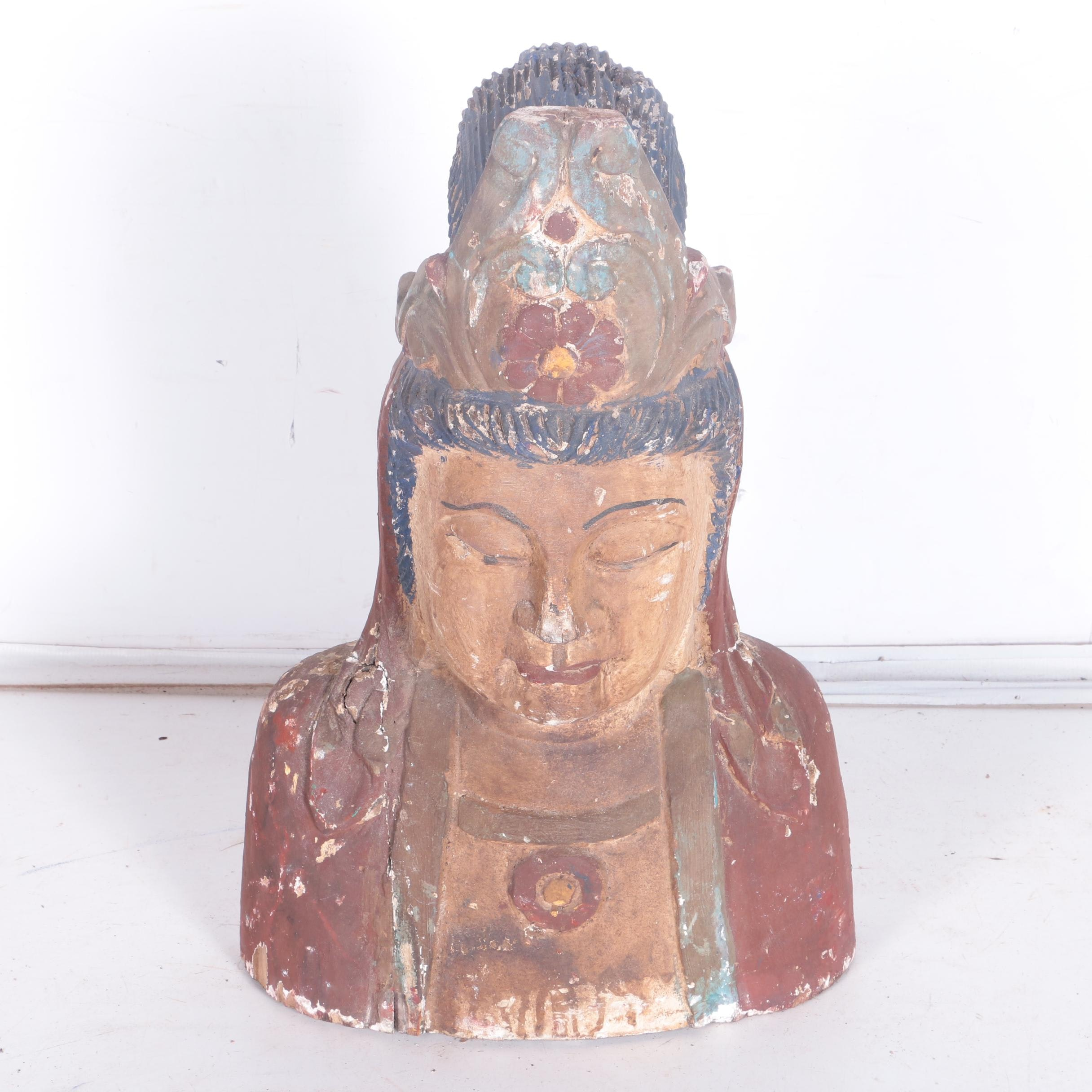 Southeast Asian Style Carved Wood Buddha Bust