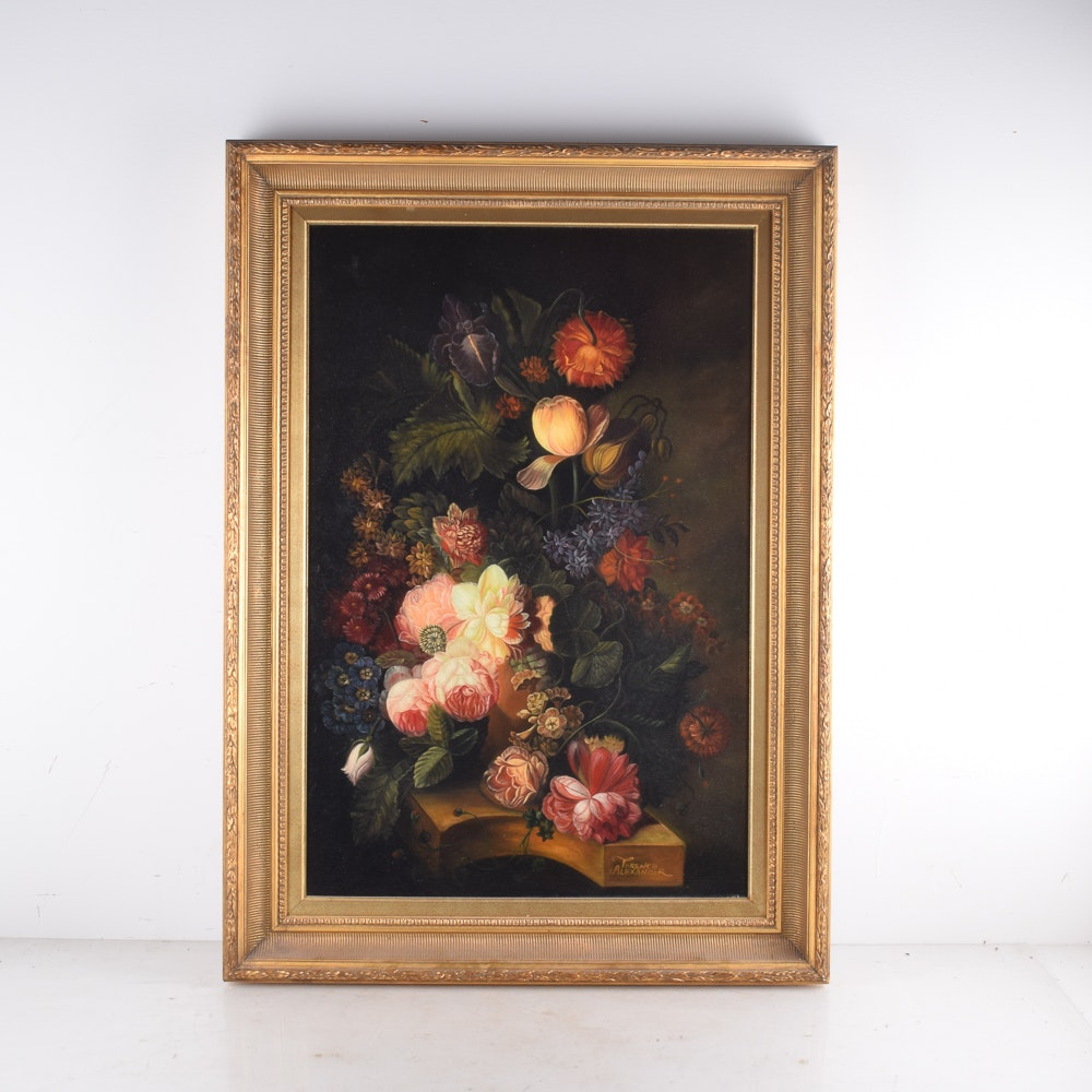 Terence Alexander Oil Painting of a Floral Still Life