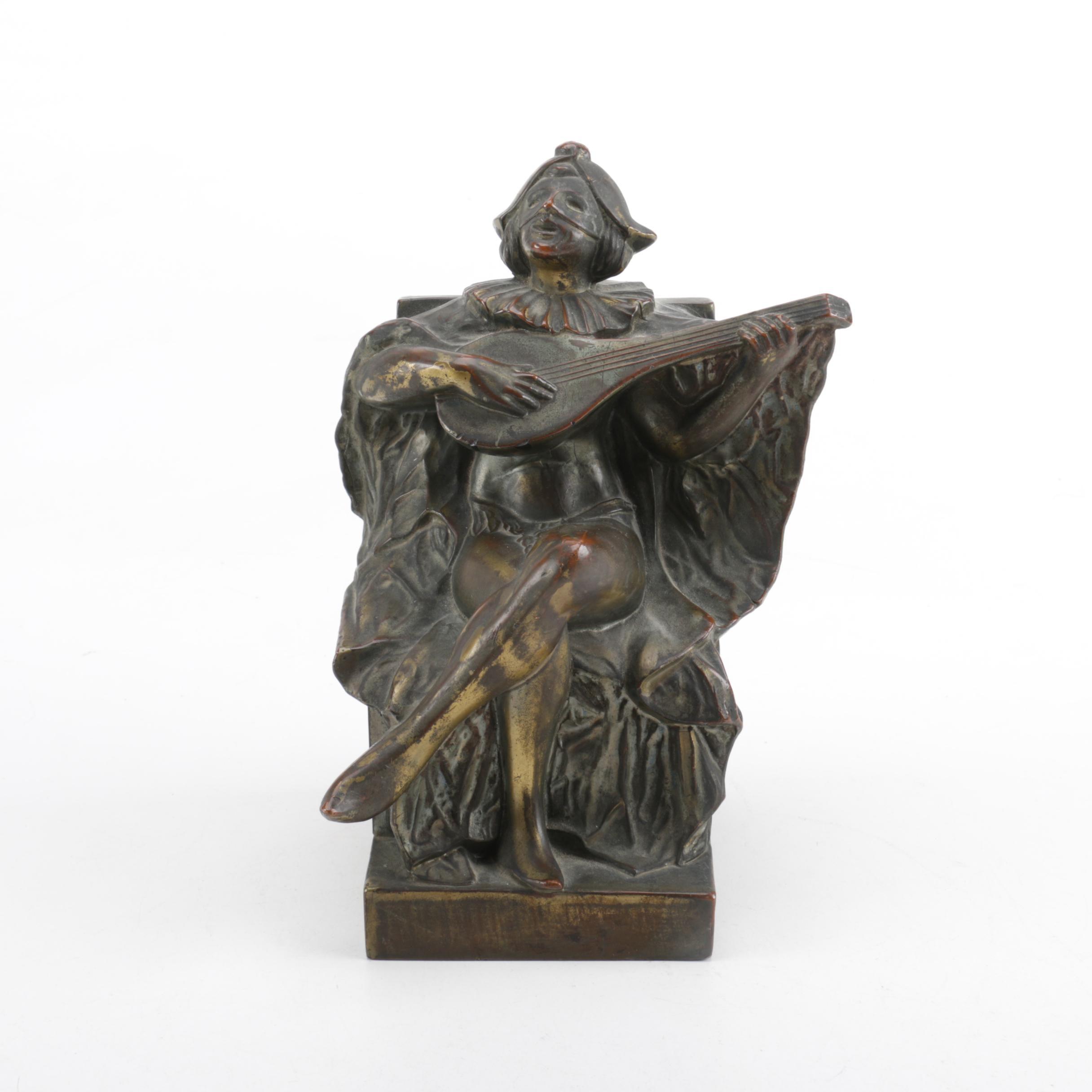 Brass Sculpture of Lute Player