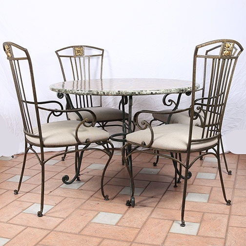 Mosaic Tile Bistro Table and Four Chairs by Hooker