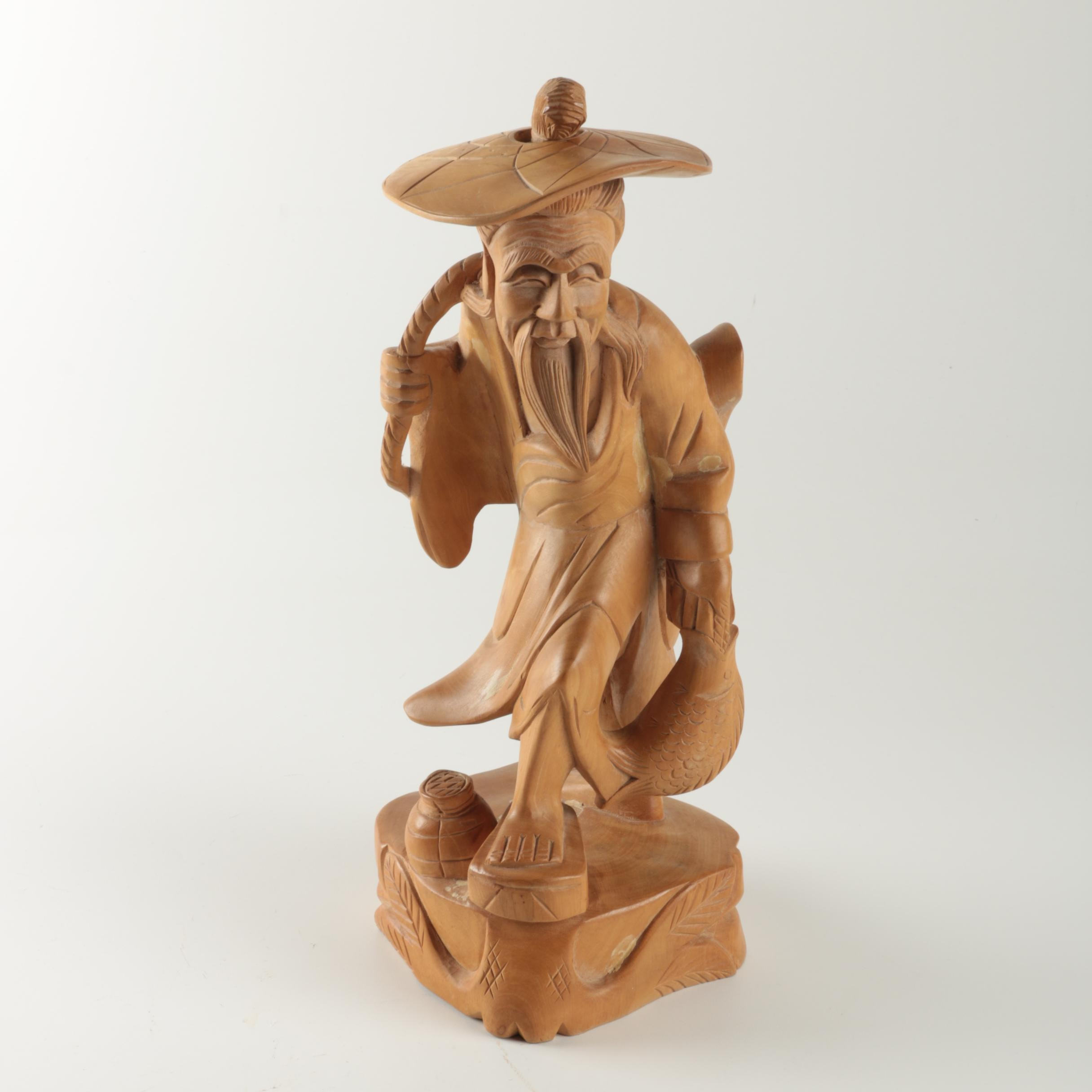 Chinese Carved Wooden Sculpture of a Fisherman