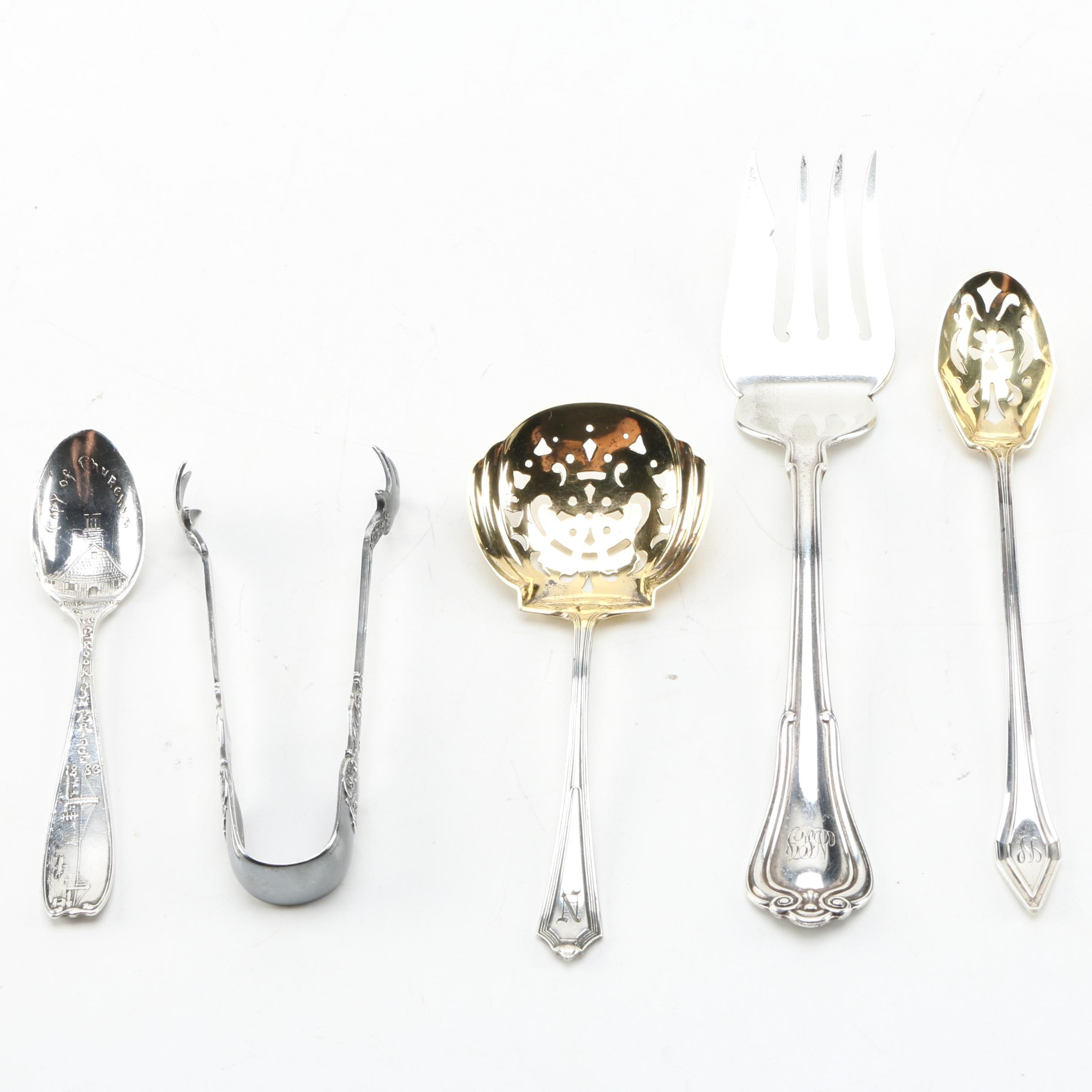 "Gorham Sterling Silver Utensils with ""Clermont"" Pattern"