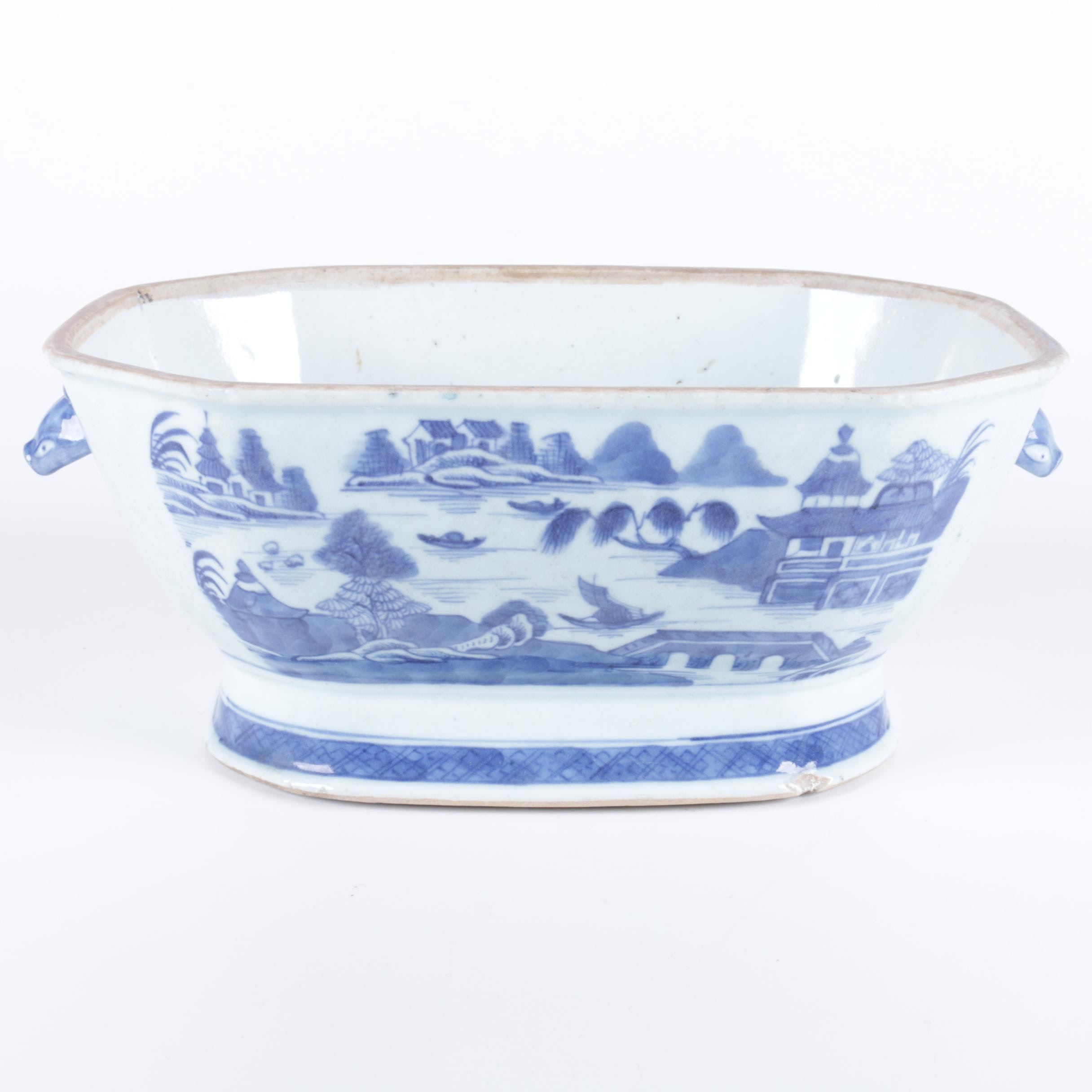 Chinese Inspired Blue and White Ceramic Planter