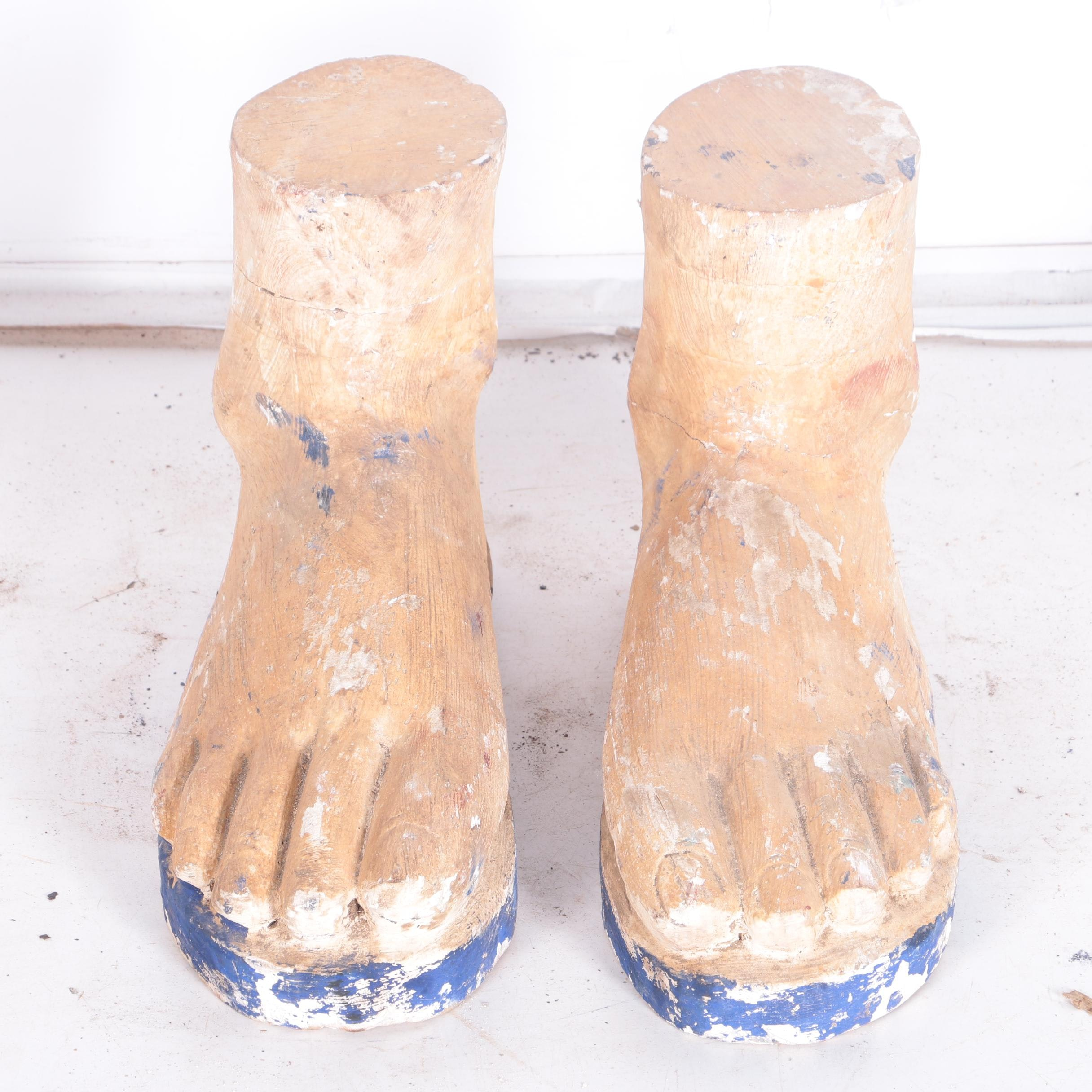 Carved Wood Sculptures of Feet