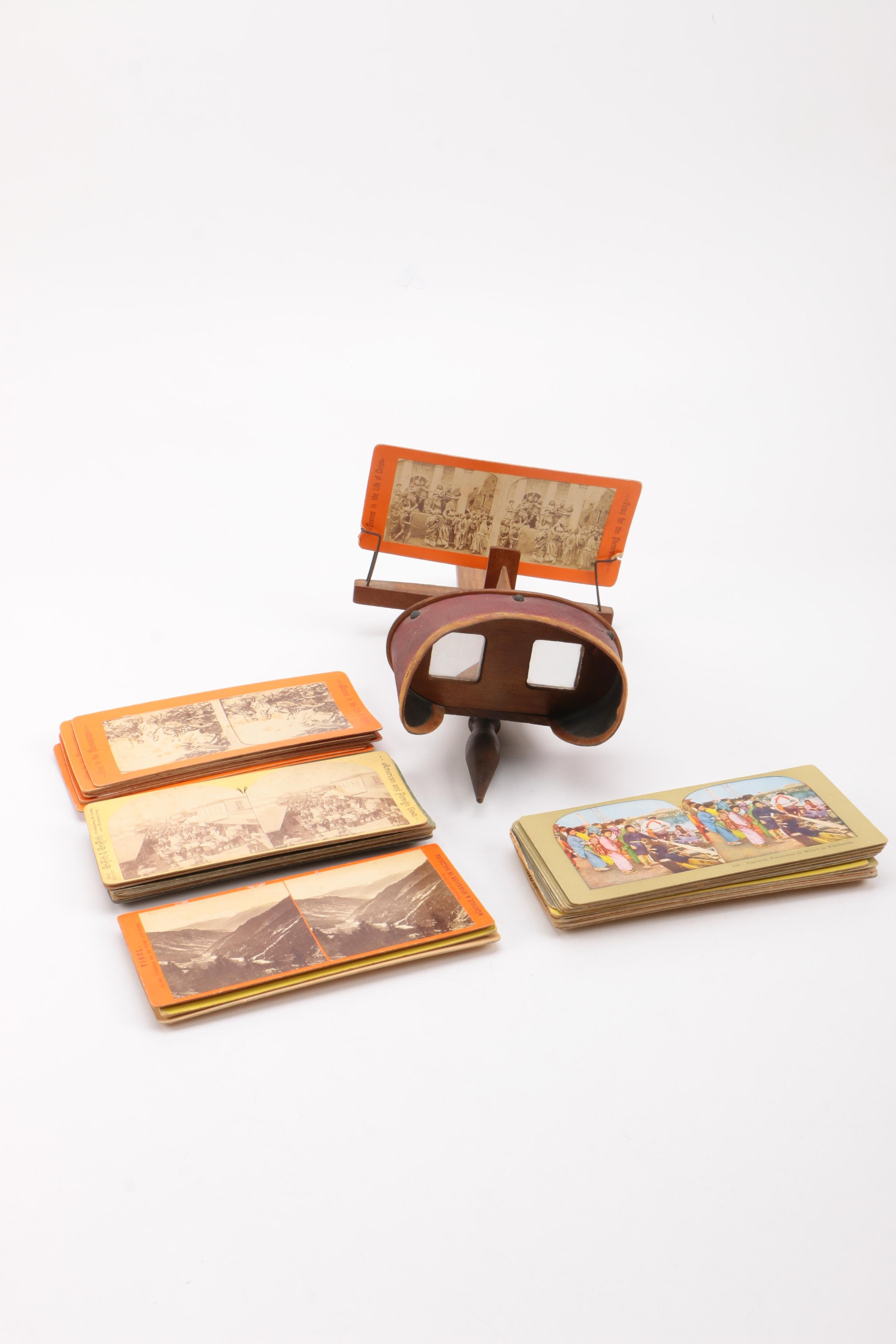 Antique Stereoscope and Viewing Cards