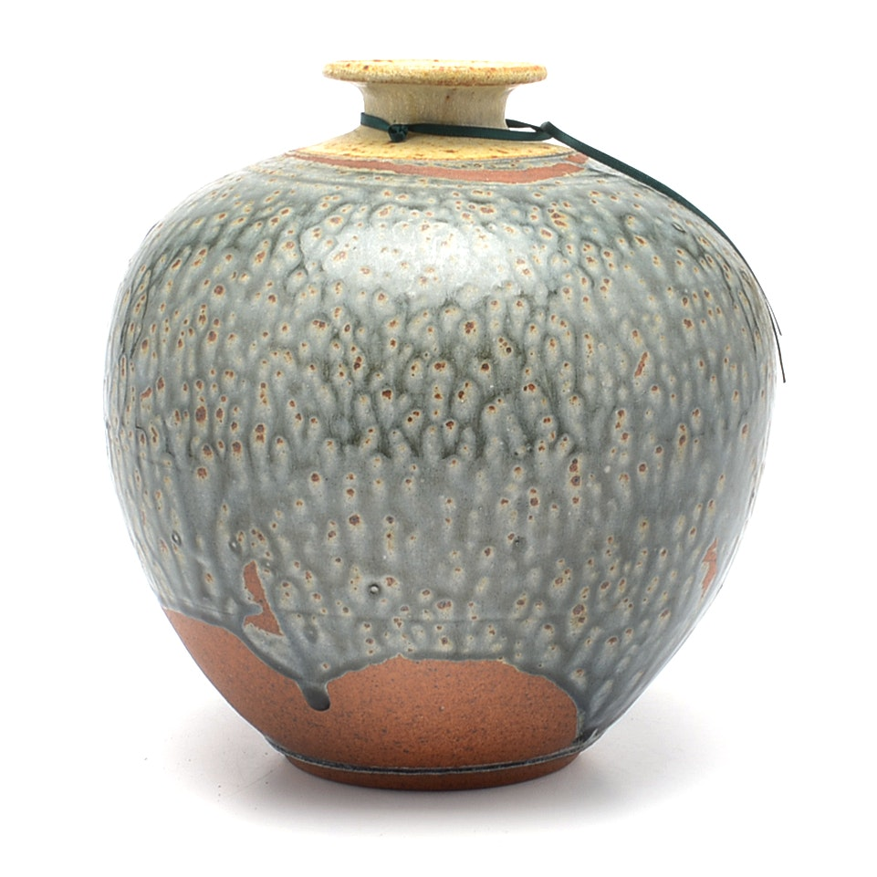 Signed 1988 Hand-thrown Ceramic Pottery Vase