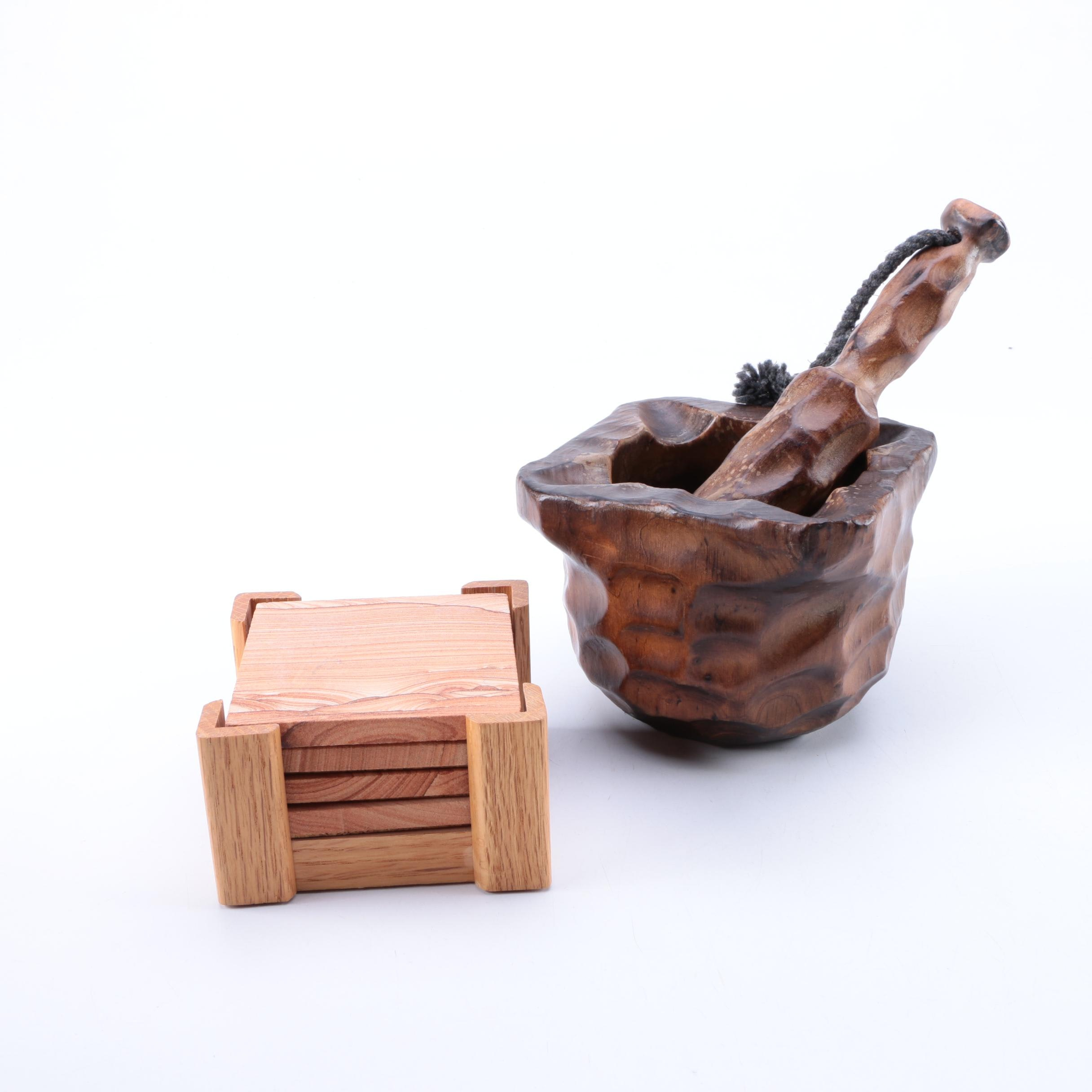 Wooden Mortar and Pestle and Sandstone Coasters