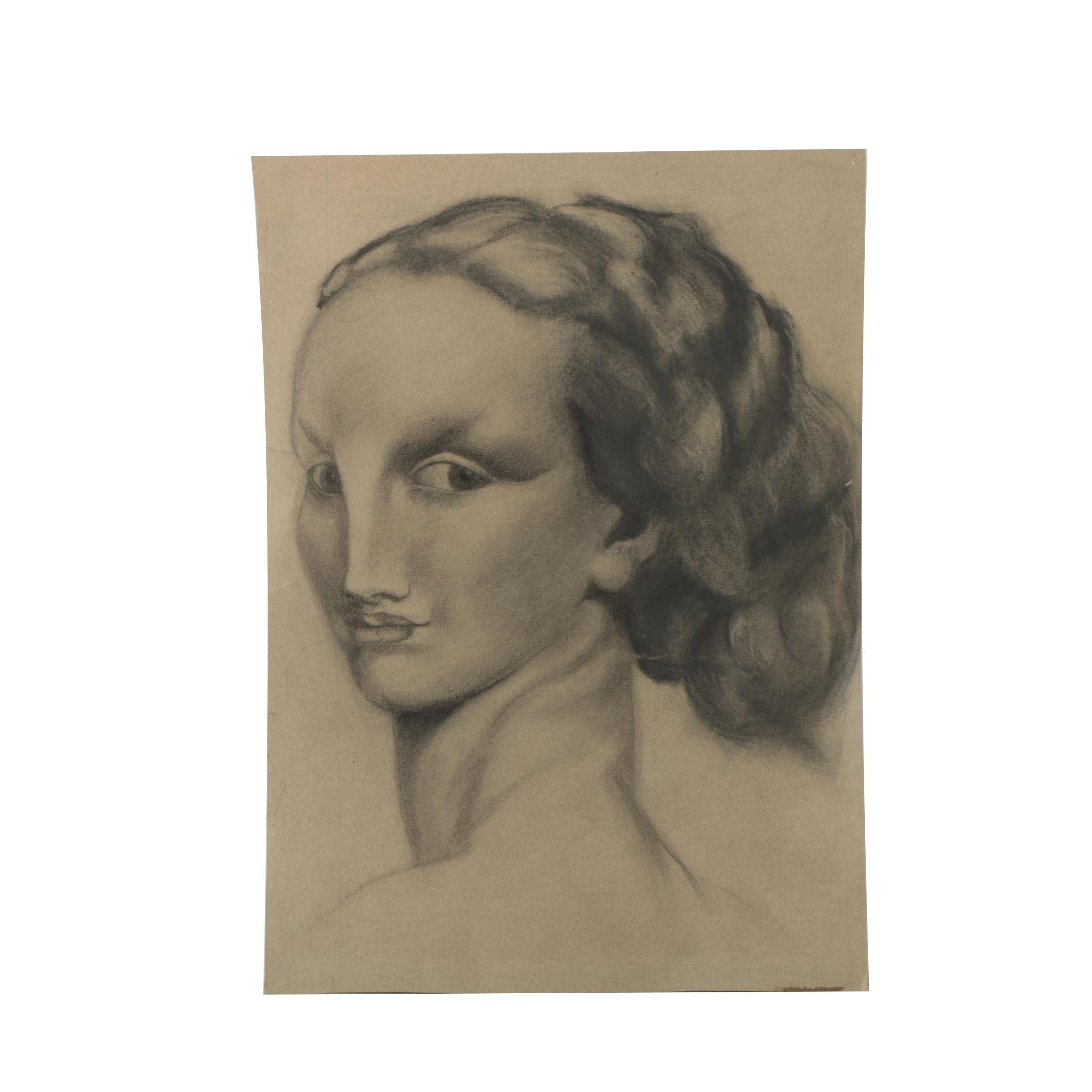 Charcoal Portrait Drawing of Woman