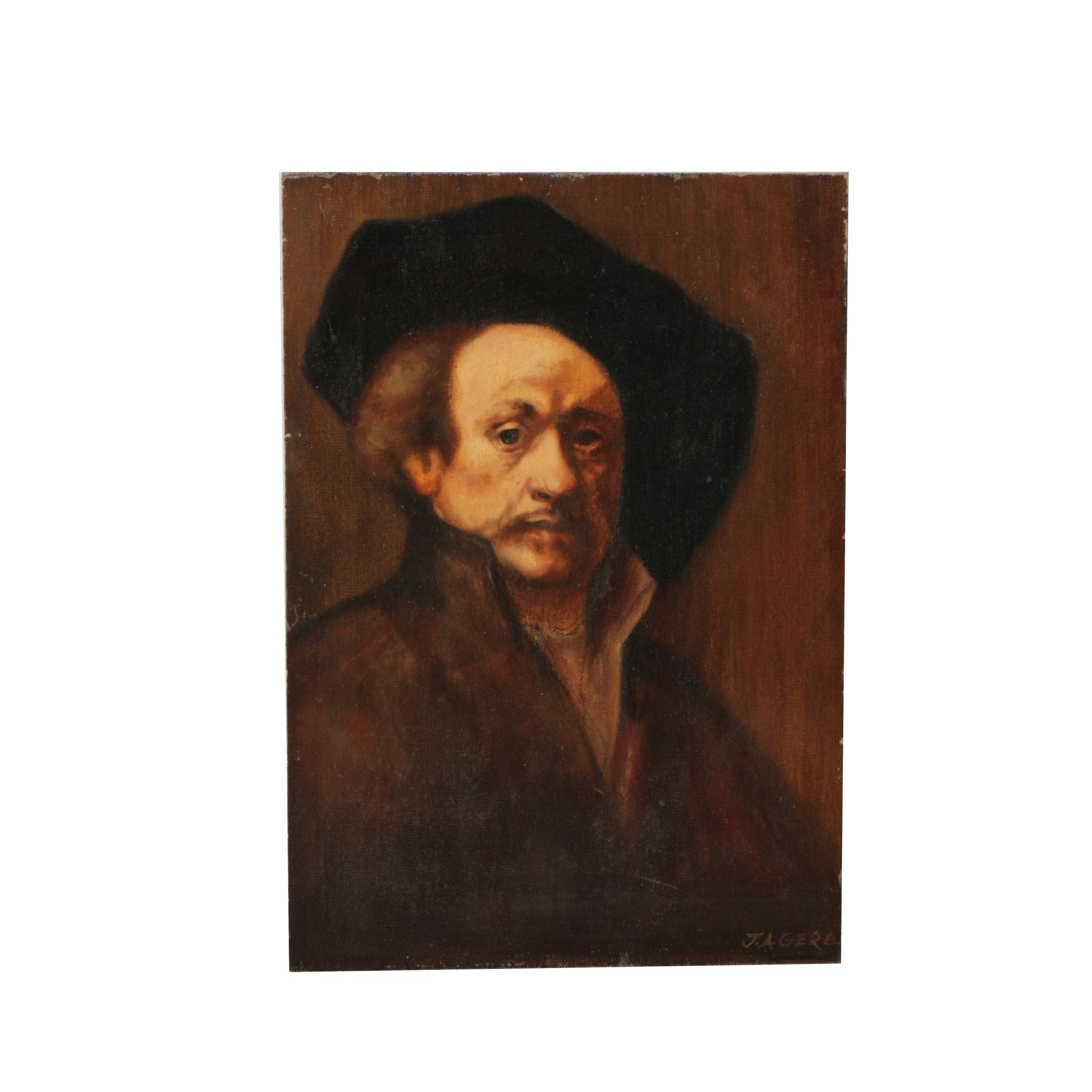"""J.A. Gerbi Copy Oil Painting After Rembrandt's """"Self-Portrait"""""""