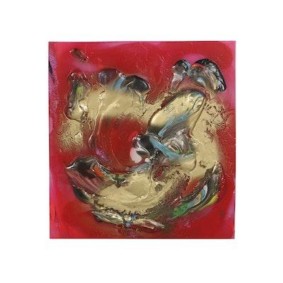 """Irene Neal Acrylic Painting on Lexan """"In Orbit"""""""