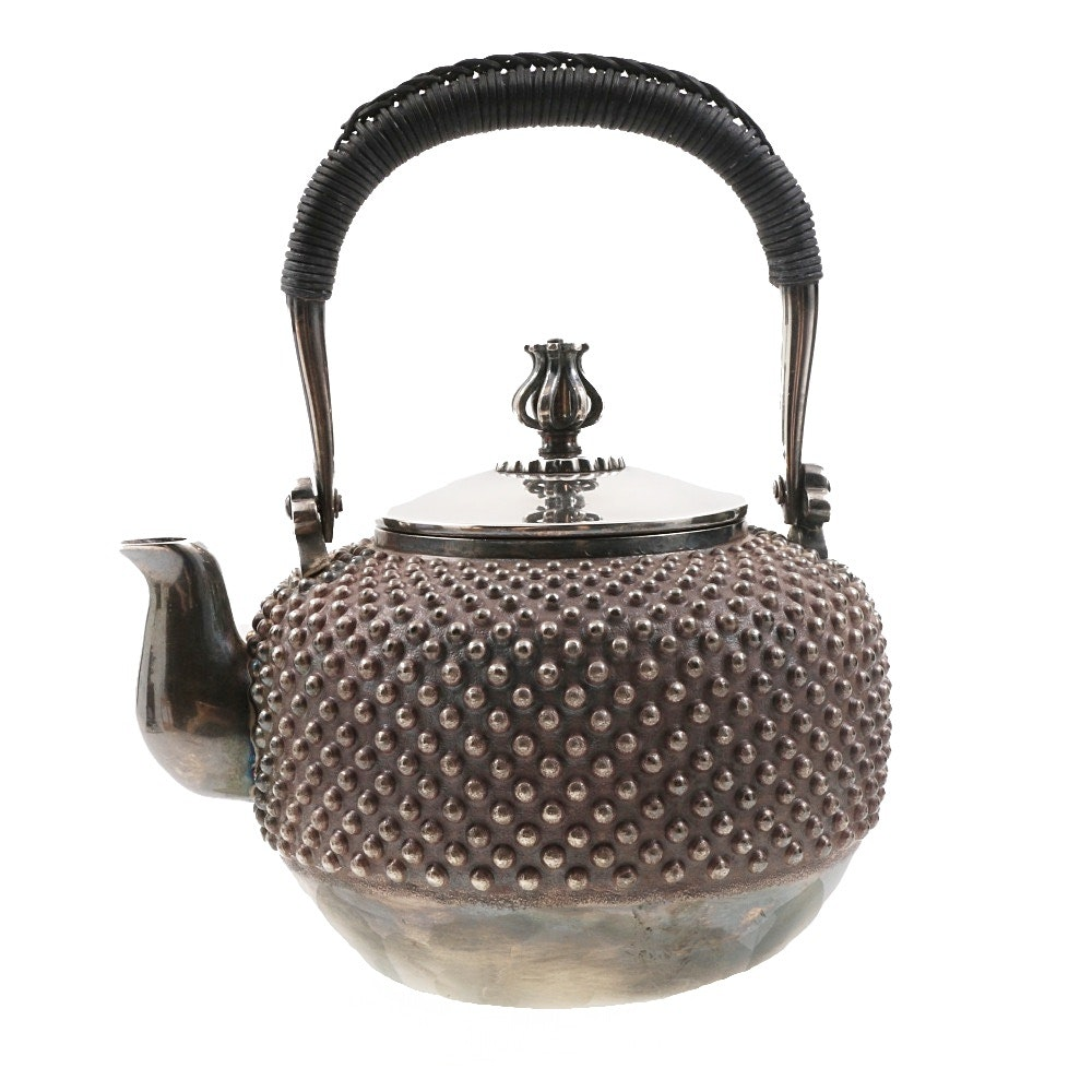 Japanese Sterling Silver Hobnail Tetsubin Teapot