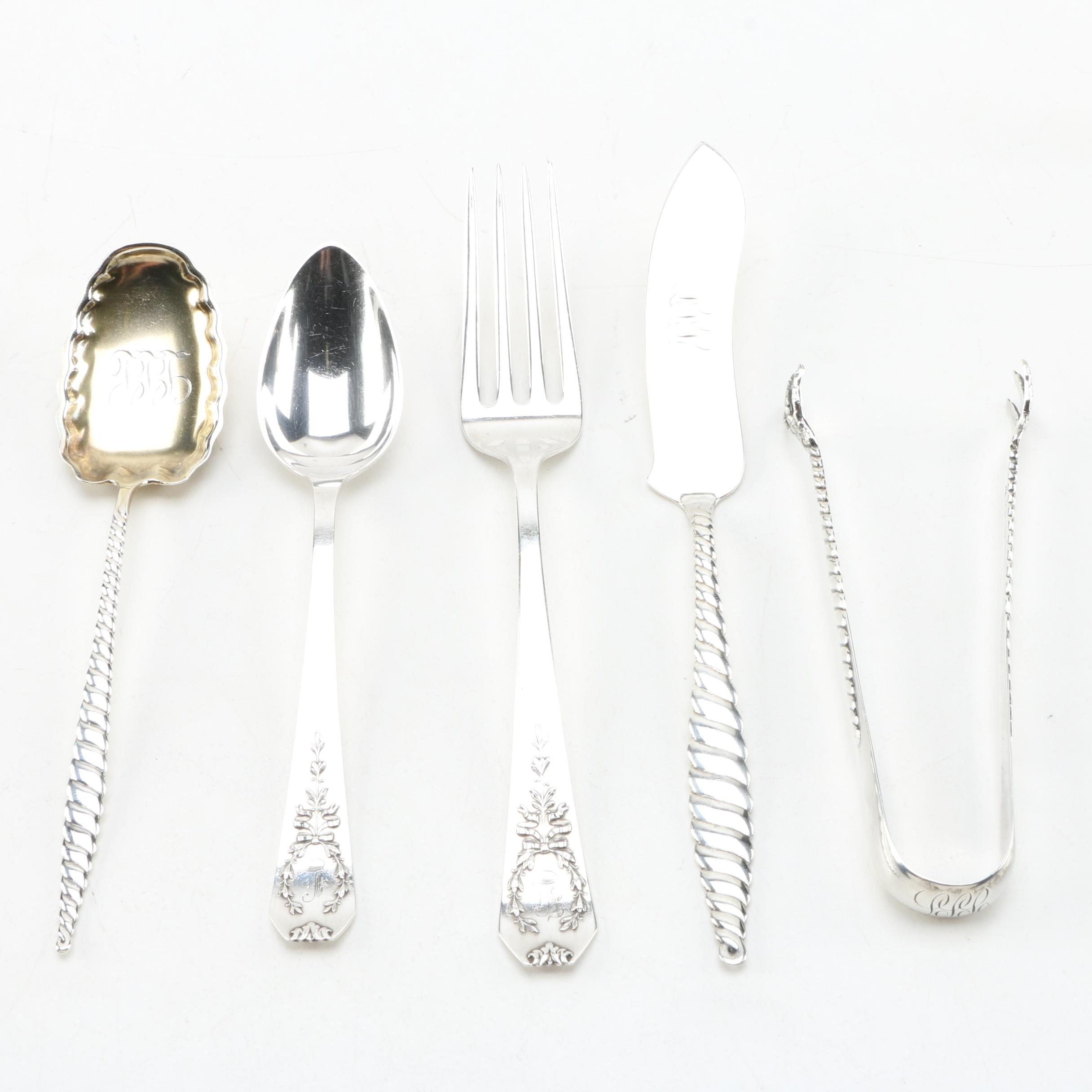 """Whiting Mfg. Co. Sterling Silver Utensils Including """"Oval Twist"""""""