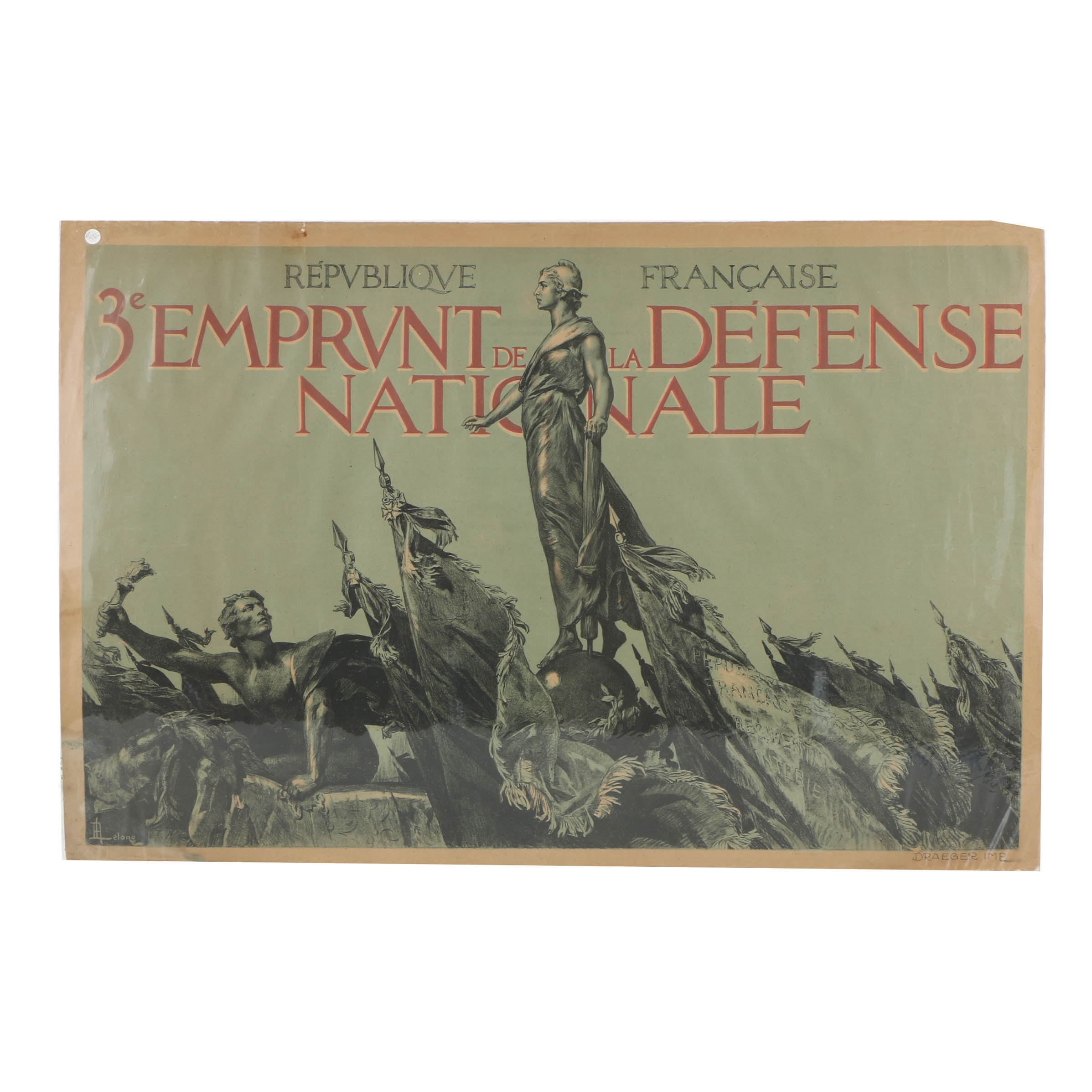 "French WWI Lithograph Poster on Paper ""Emprunt de la Defense Nationale"""