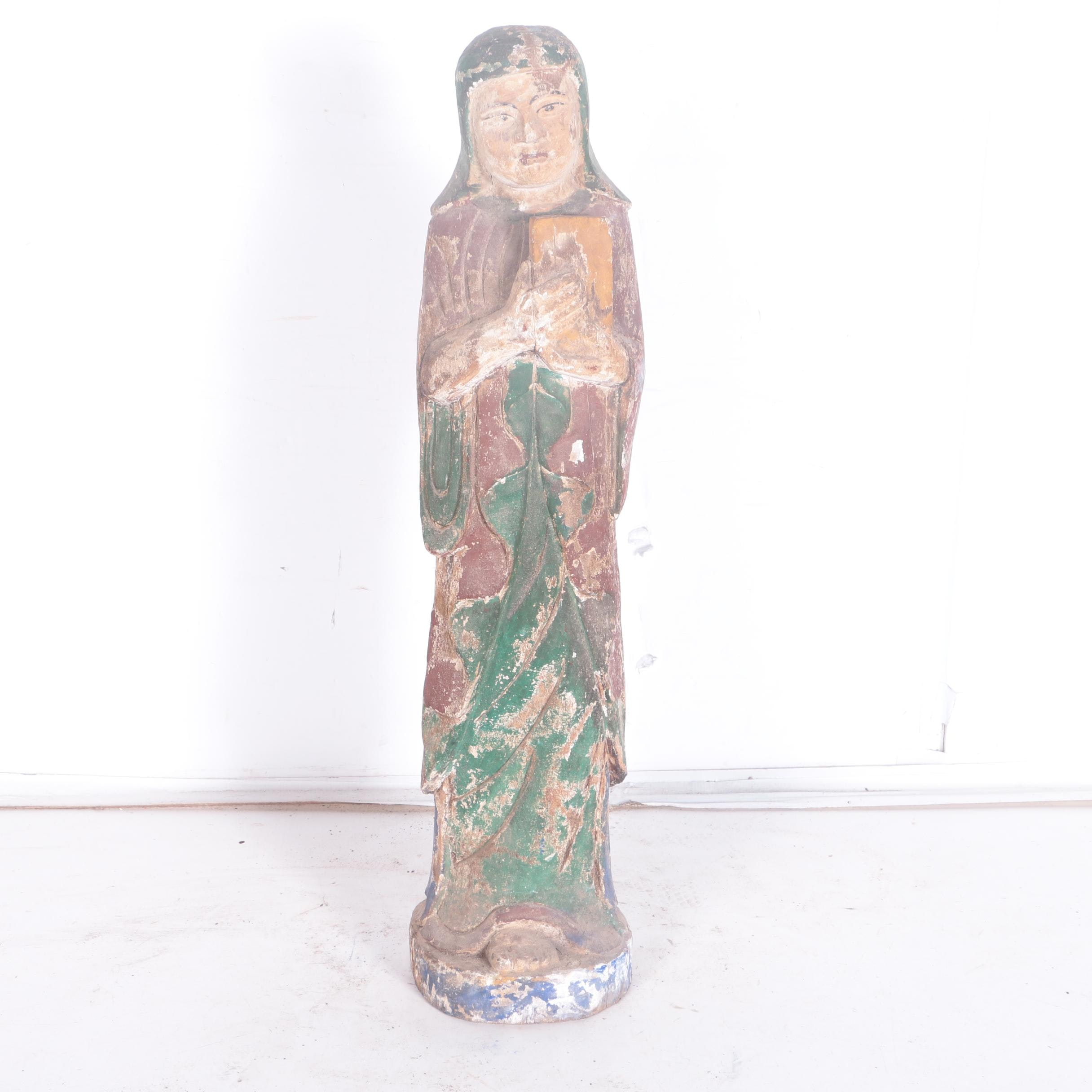 East Asian Style Carved Wooden Statuette of a Woman