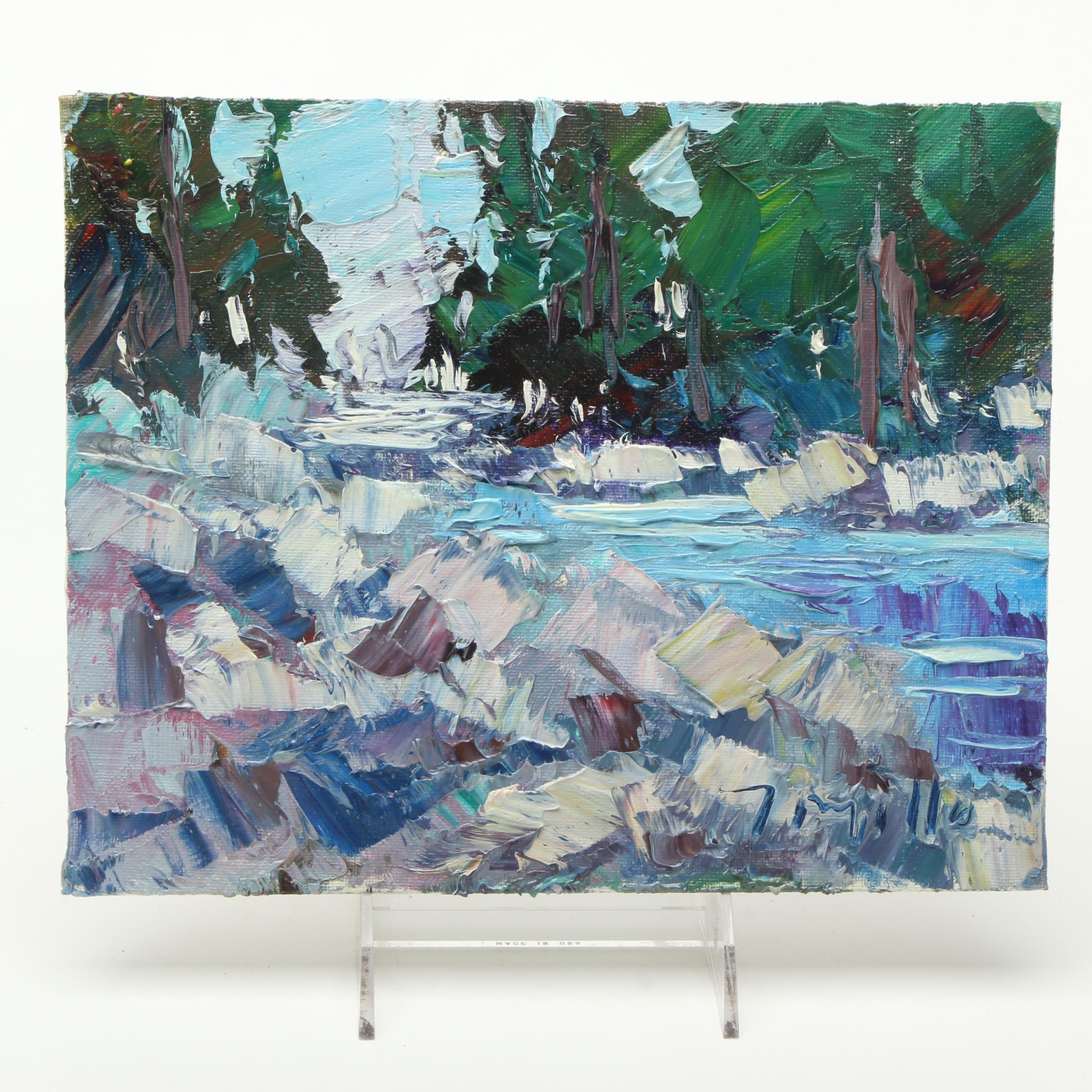 "Jose Trujillo Oil Painting on Canvas ""River Rocks"""