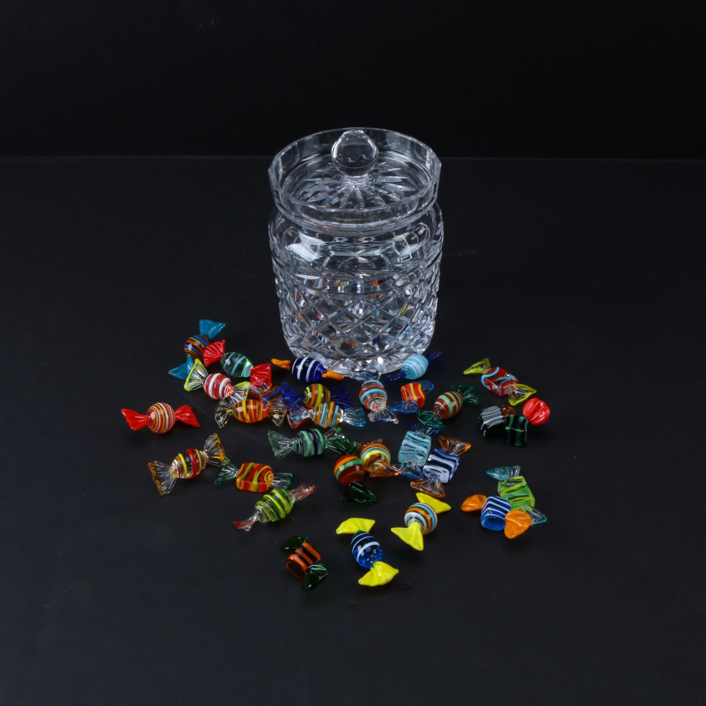 "Waterford ""Glandore"" Crystal Biscuit Barrel and Decorative Glass Candies"