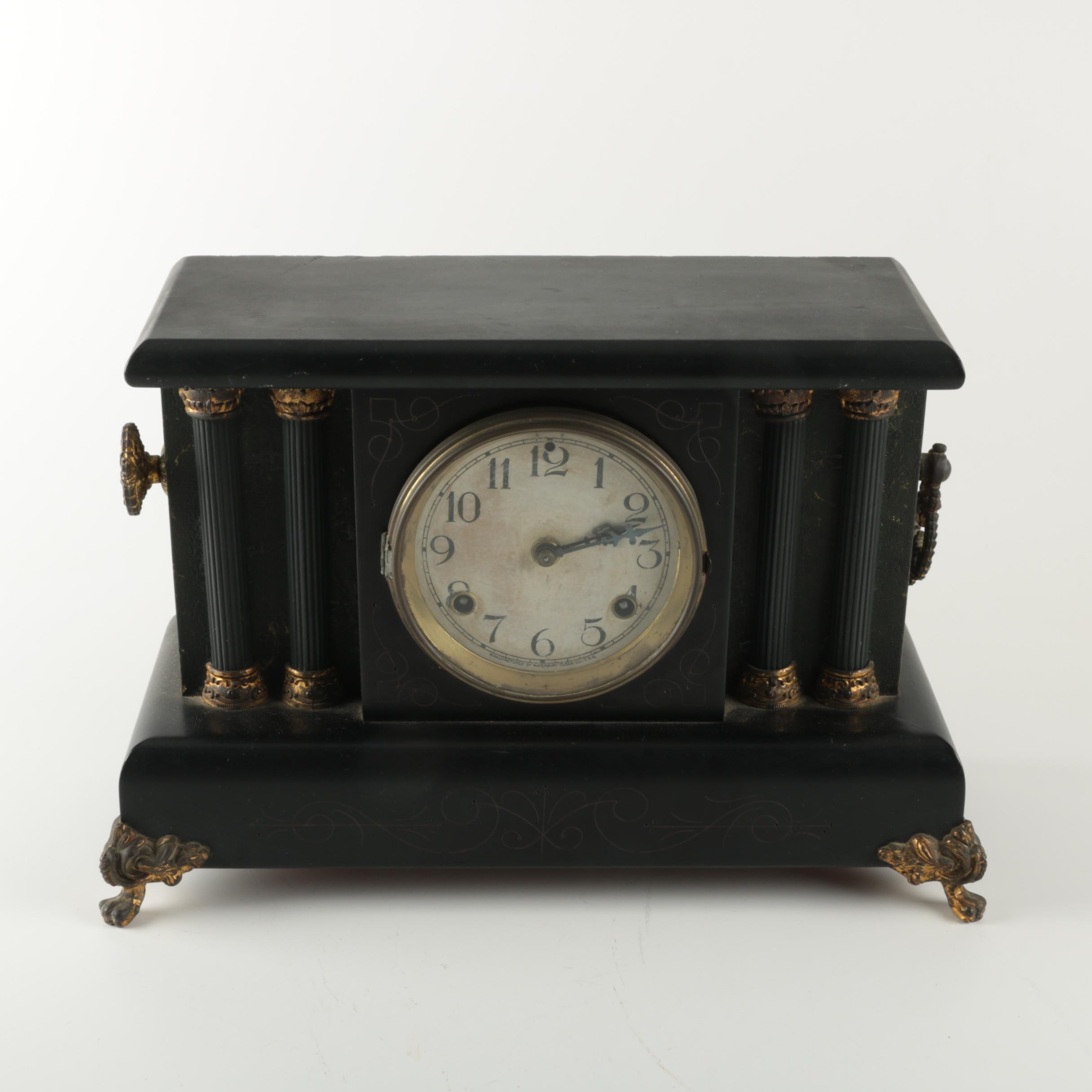 Wood Pillar Style Mantel Clock