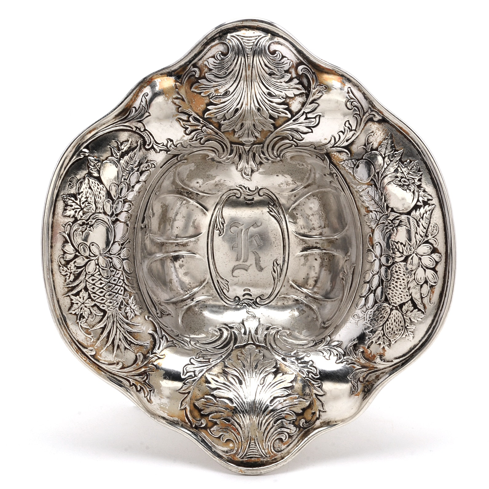 Antique Sterling Silver Nut Dish with Traces of Gold Wash