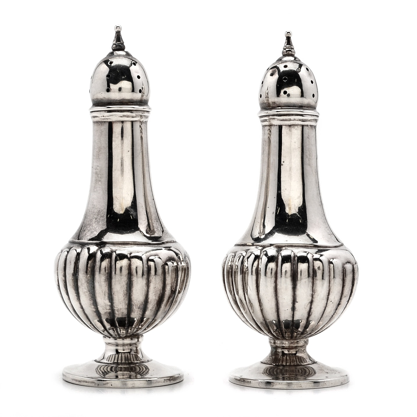 M. Fred Hirsch Sterling Silver Dome-Shaped Salt and Pepper Shakers