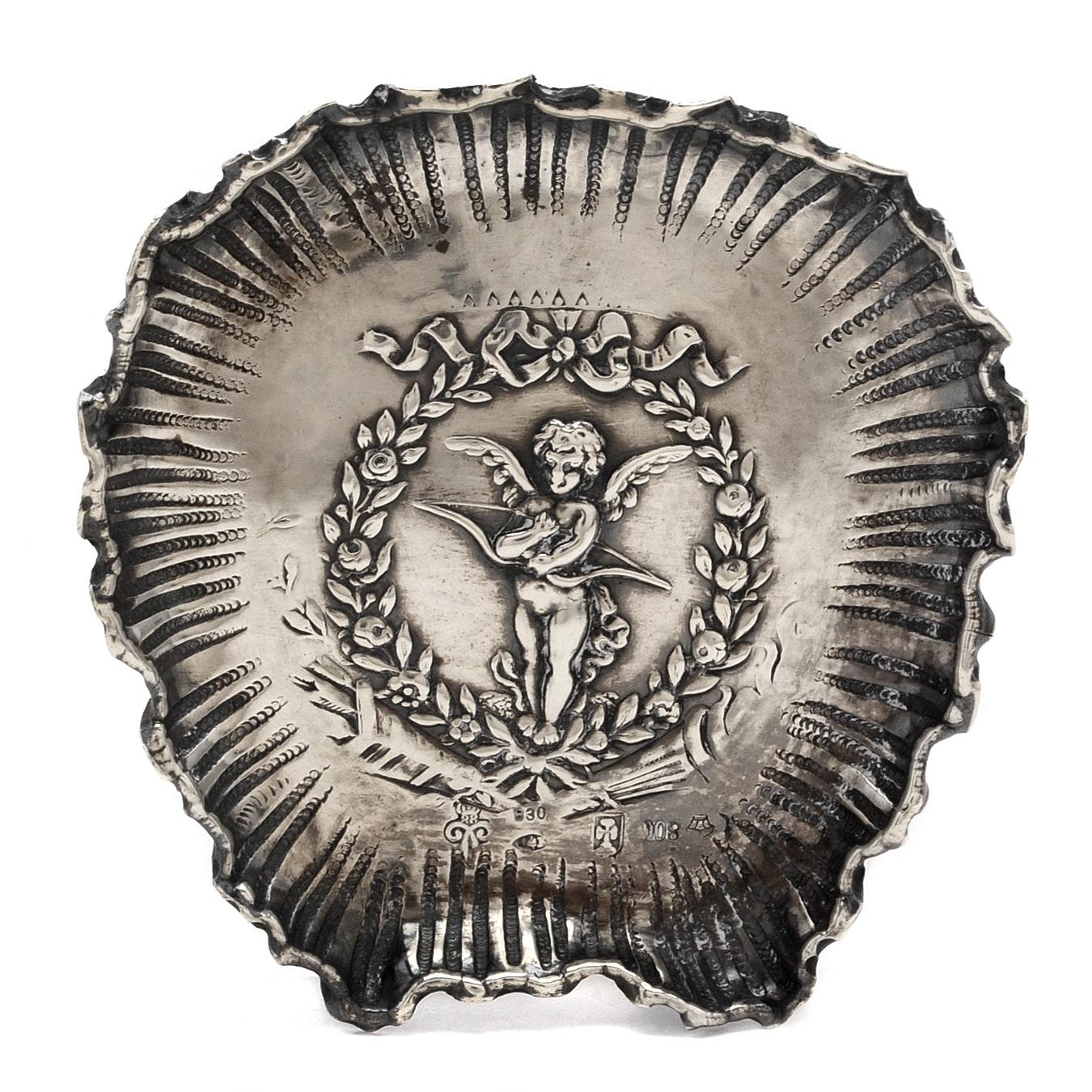800 Silver Dish with Cherub Motif