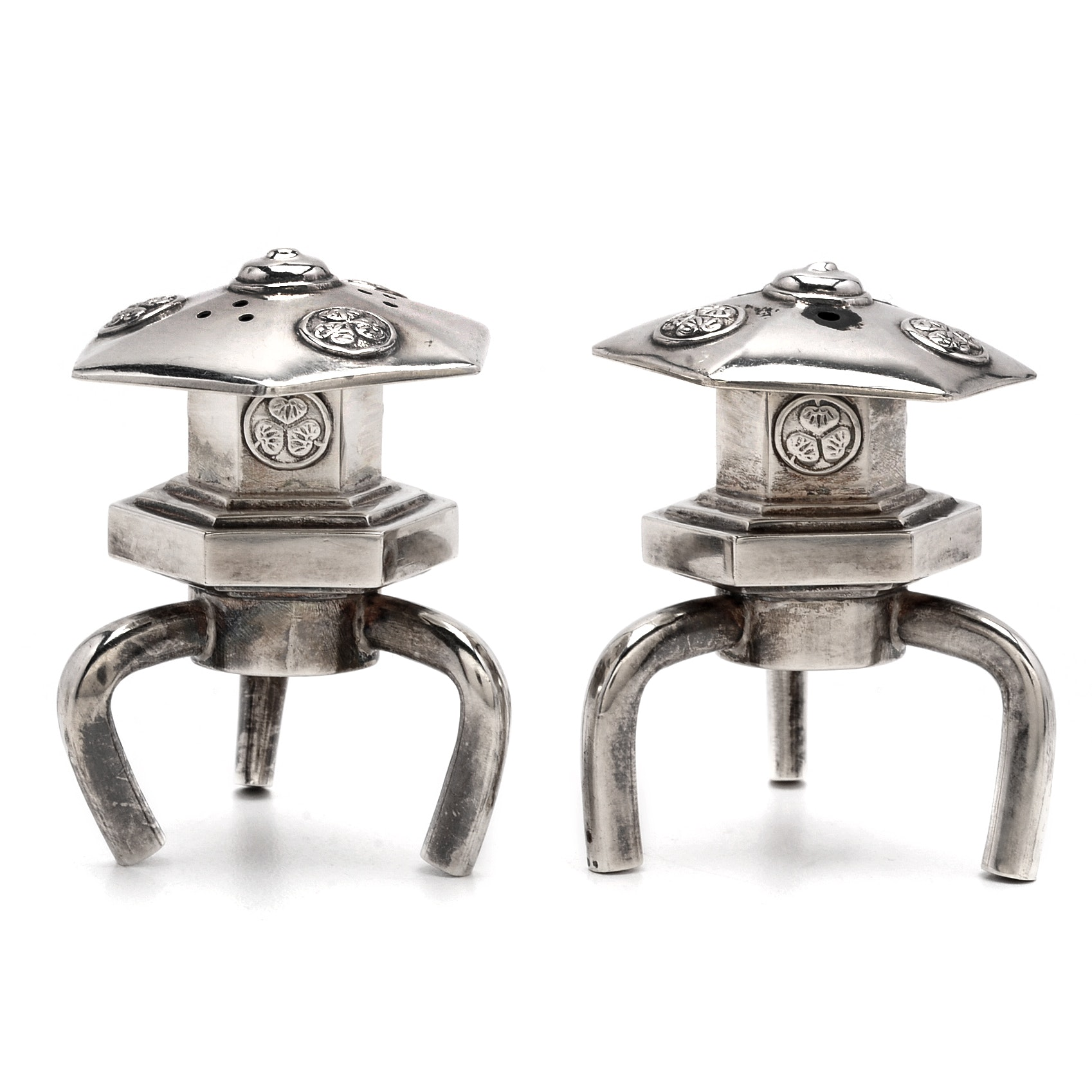 Circa 1940s Japanese Sterling Silver Pagoda Salt and Pepper Shakers
