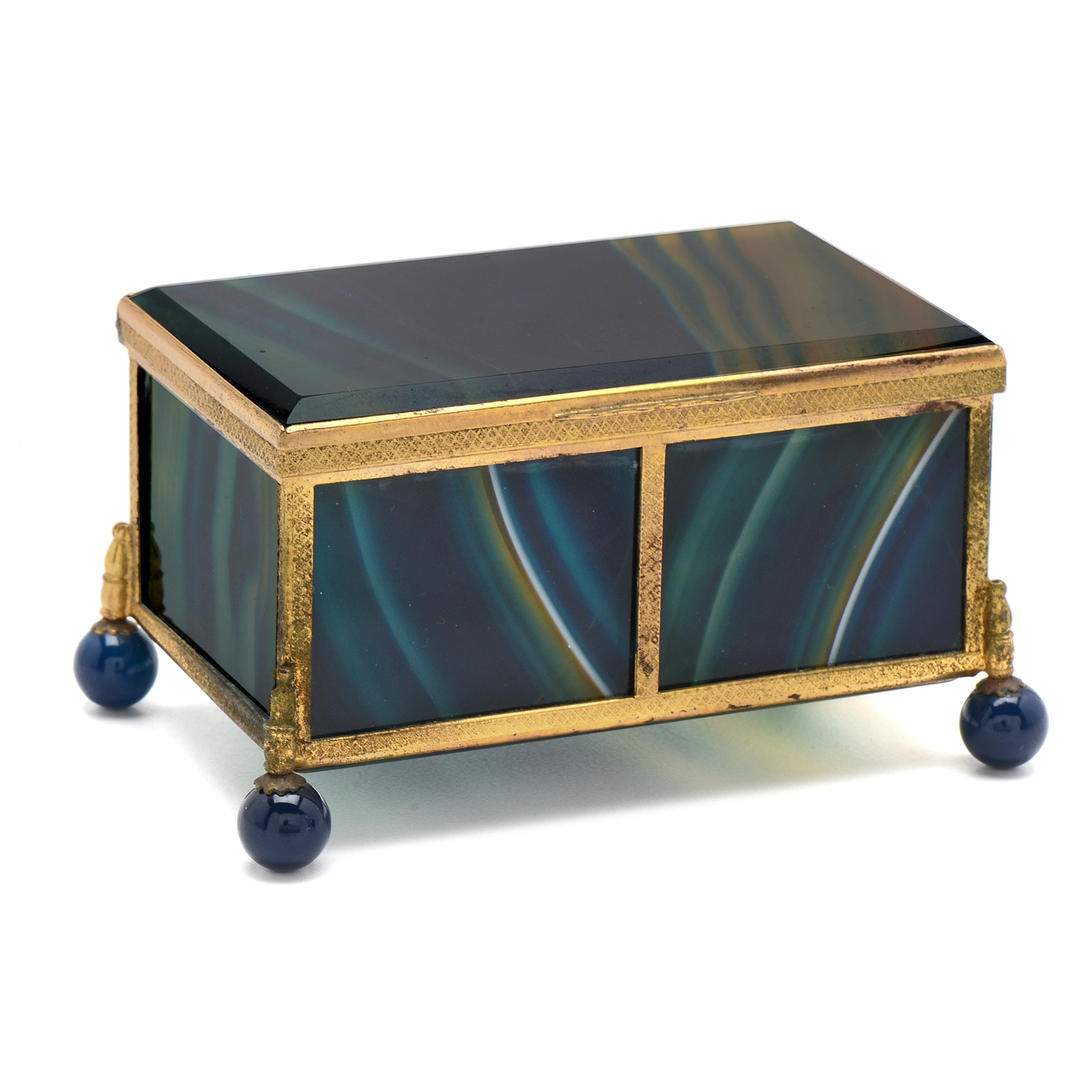 Blue Agate and Brass Coffer Form Box on Ball Feet