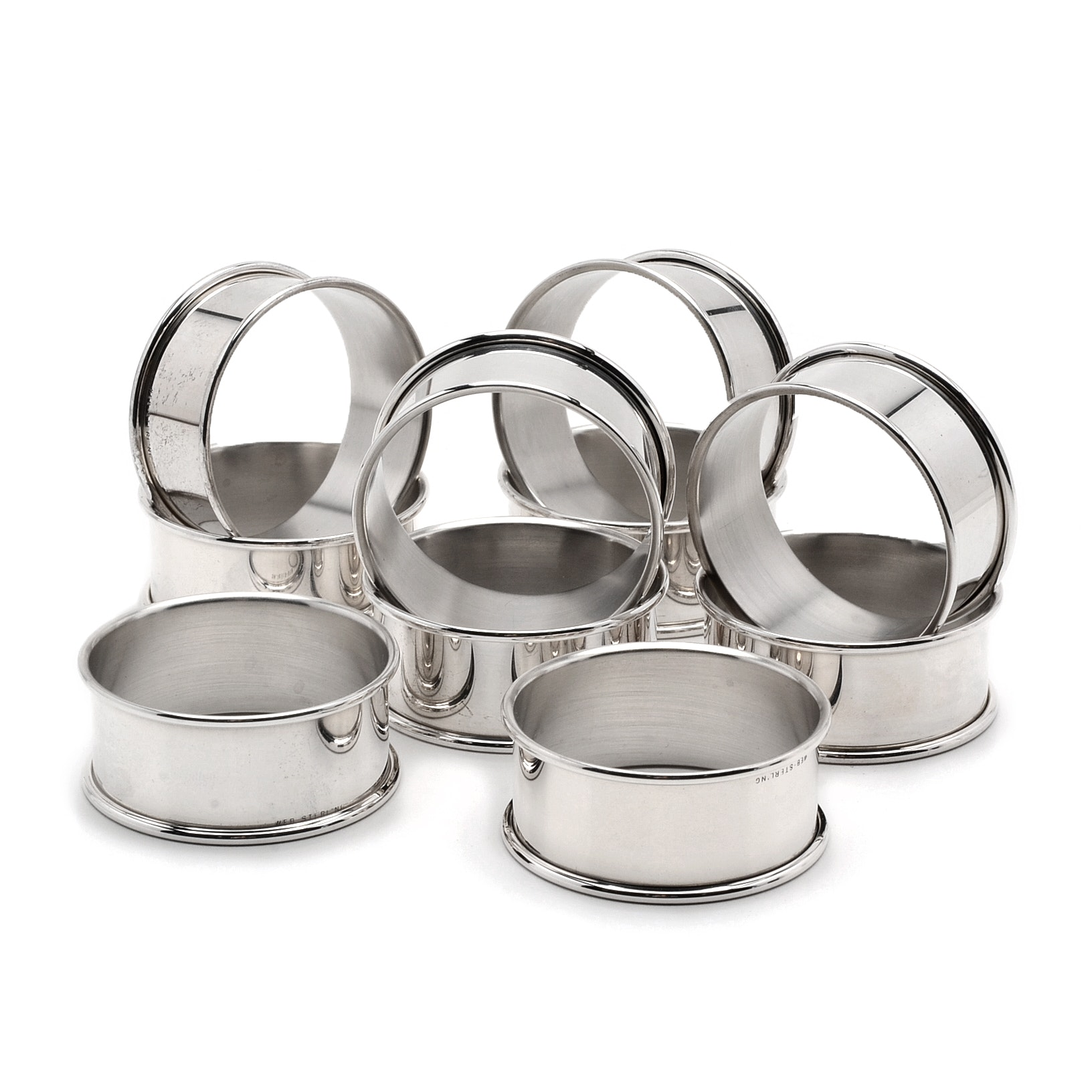 Set of Ten Sterling Silver Napkin Rings