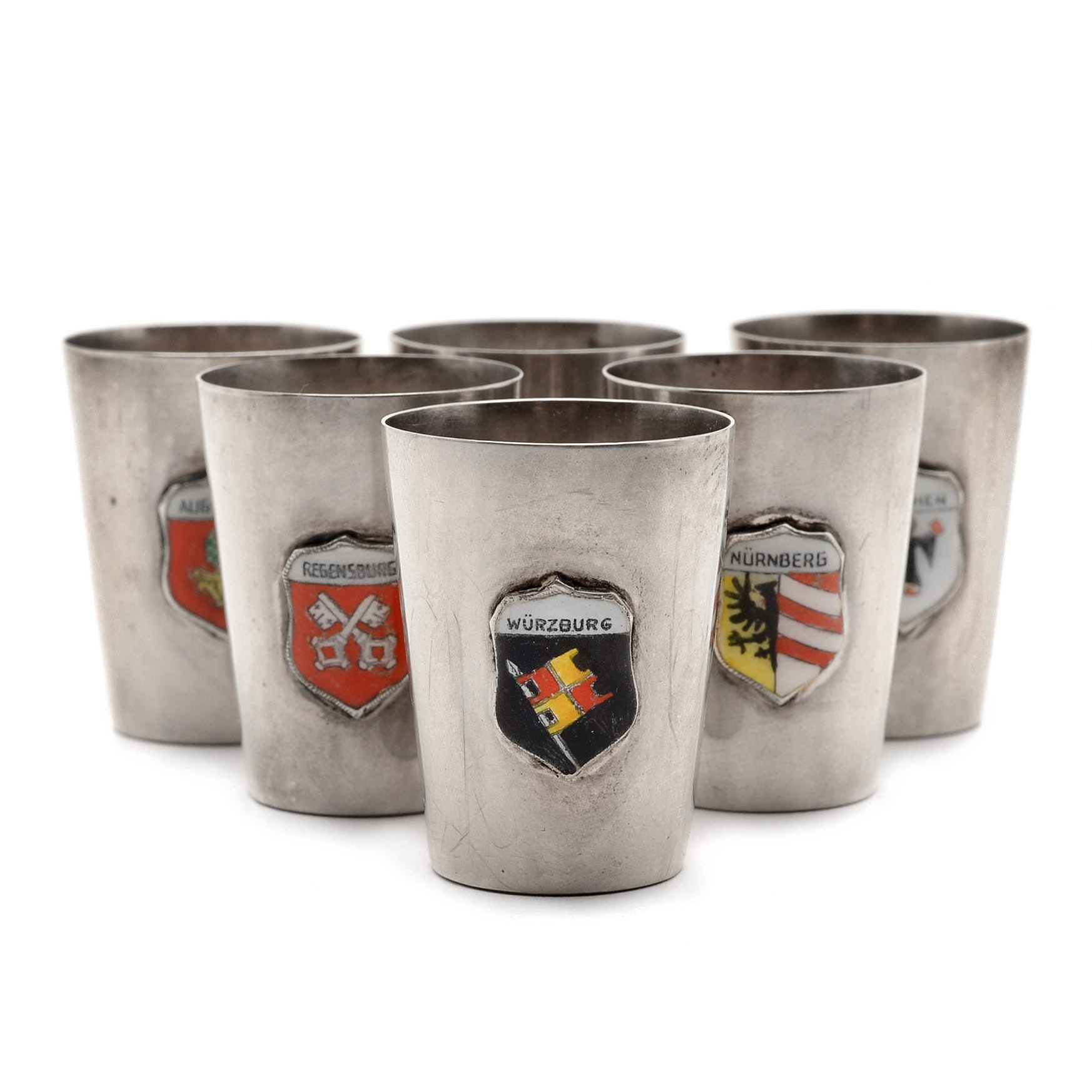 Six Sterling Silver and Enamel Souvenir Shot Glasses From Germany