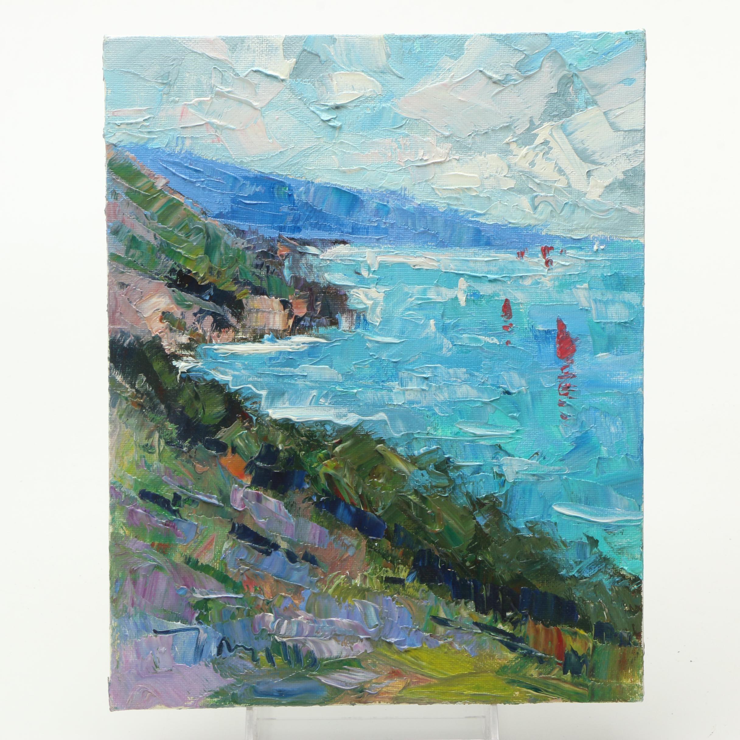 """Jose Trujillo Oil on Canvas Board """"Big Sur, California"""""""