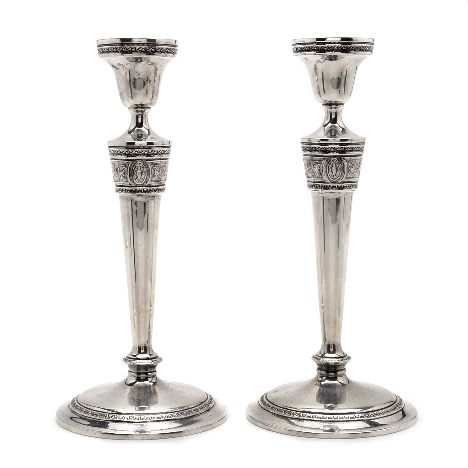 """International Silver Co. """"Wedgwood"""" Pattern Weighted Sterling Candlesticks"""