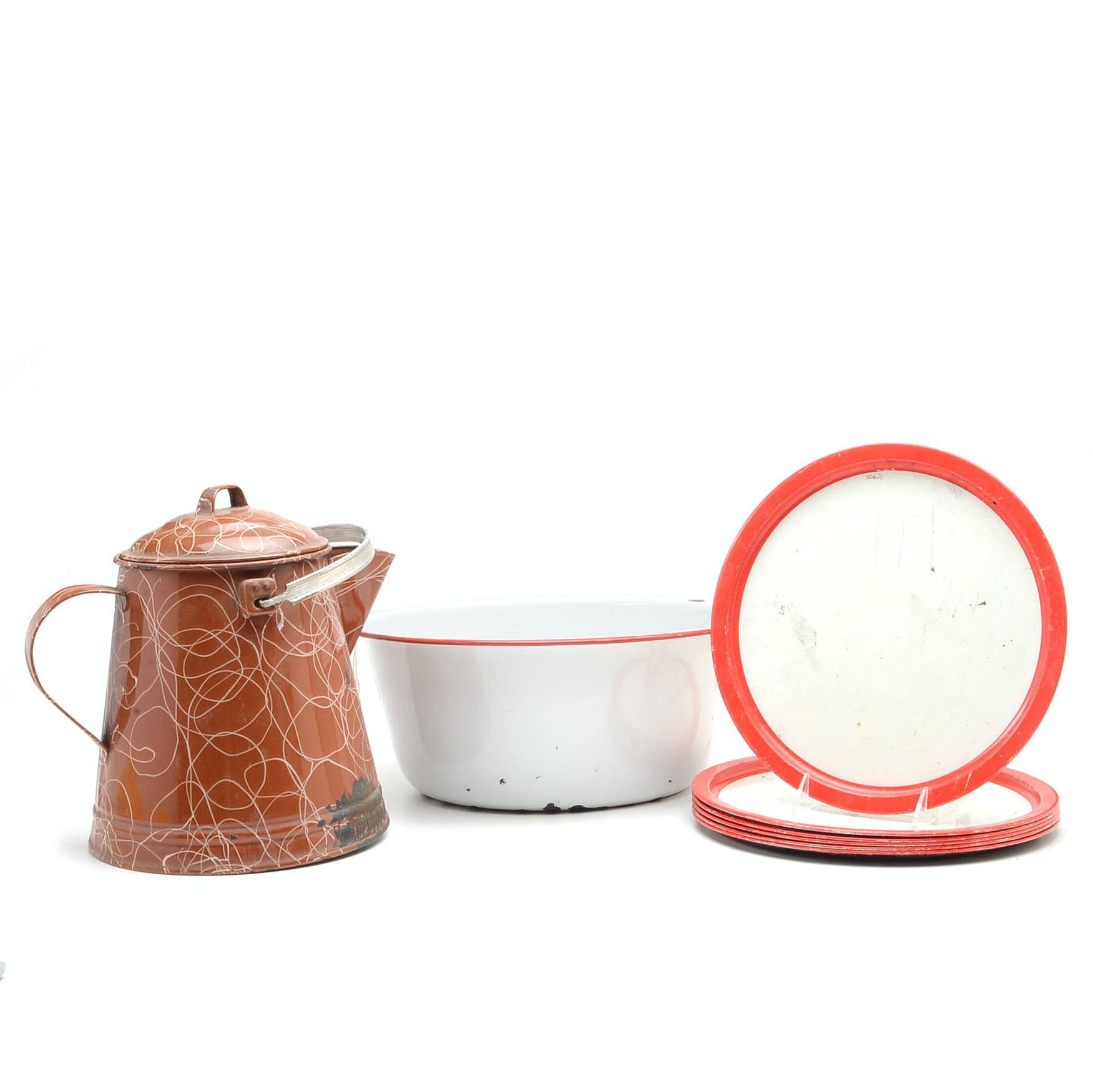 Vintage Enamel Bowl, Plates and Kettle