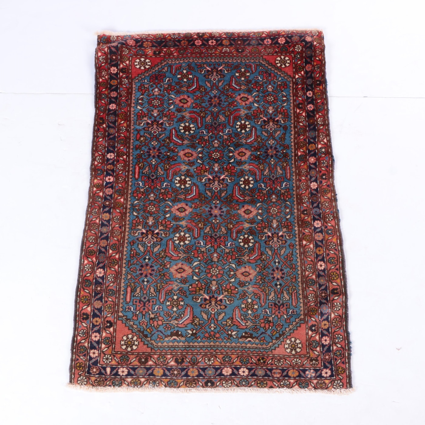 Hand Knotted Persian Wool Area Rug Ebth: Hand-Knotted Persian Hamadan Wool Area Rug
