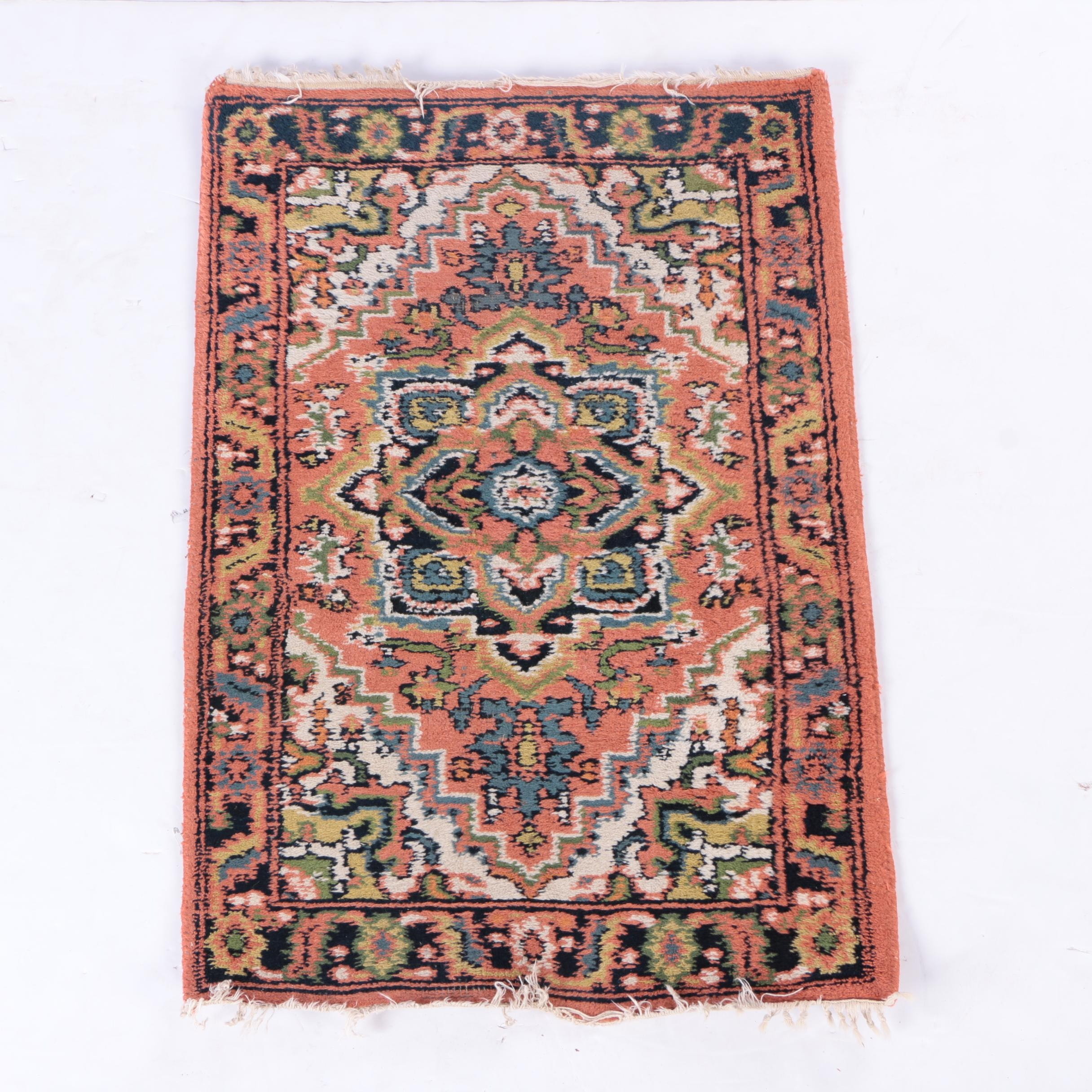 Hand-Knotted Persian Heriz Wool Mat